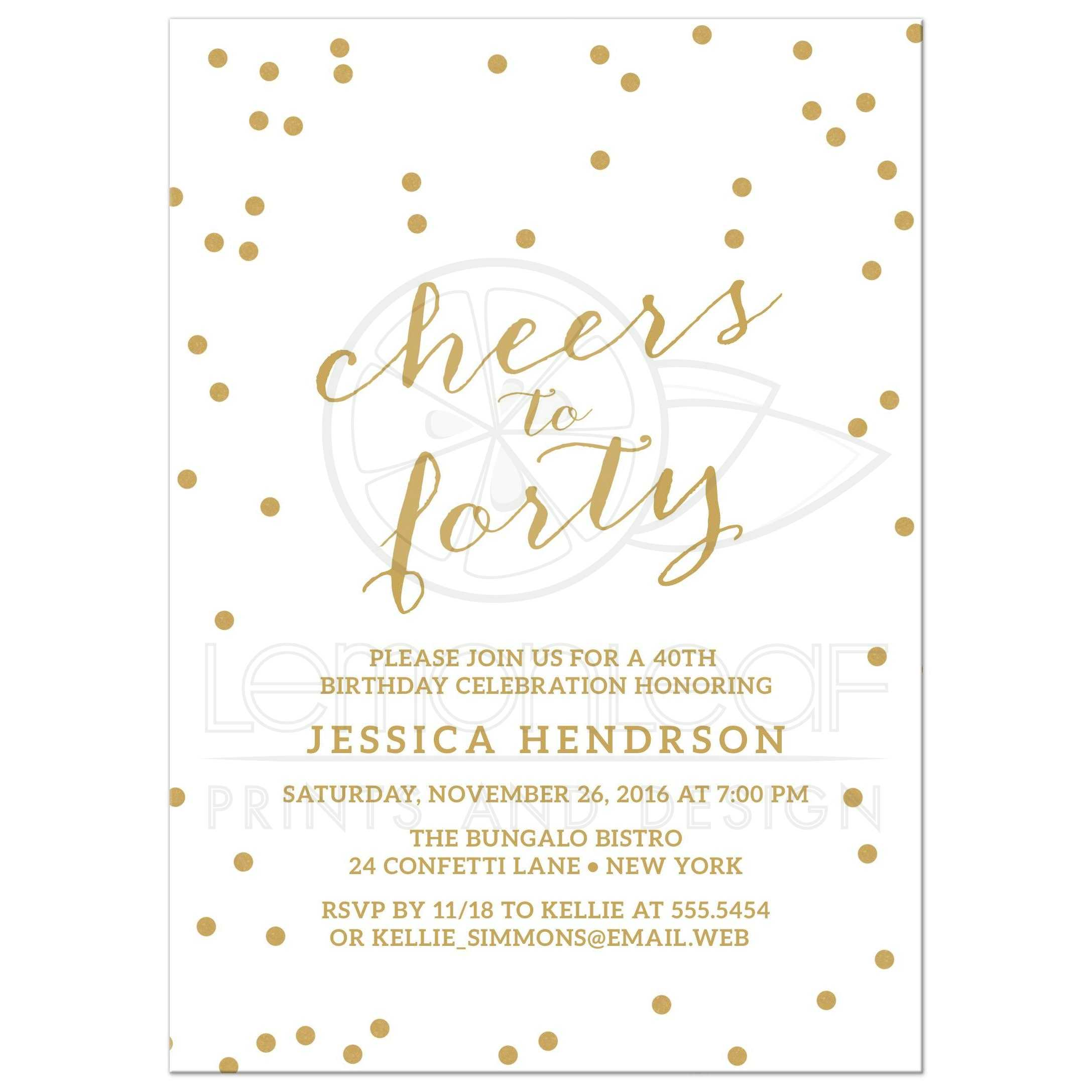 40th Birthday Party Invitations - Gold Confetti Cheers to Forty
