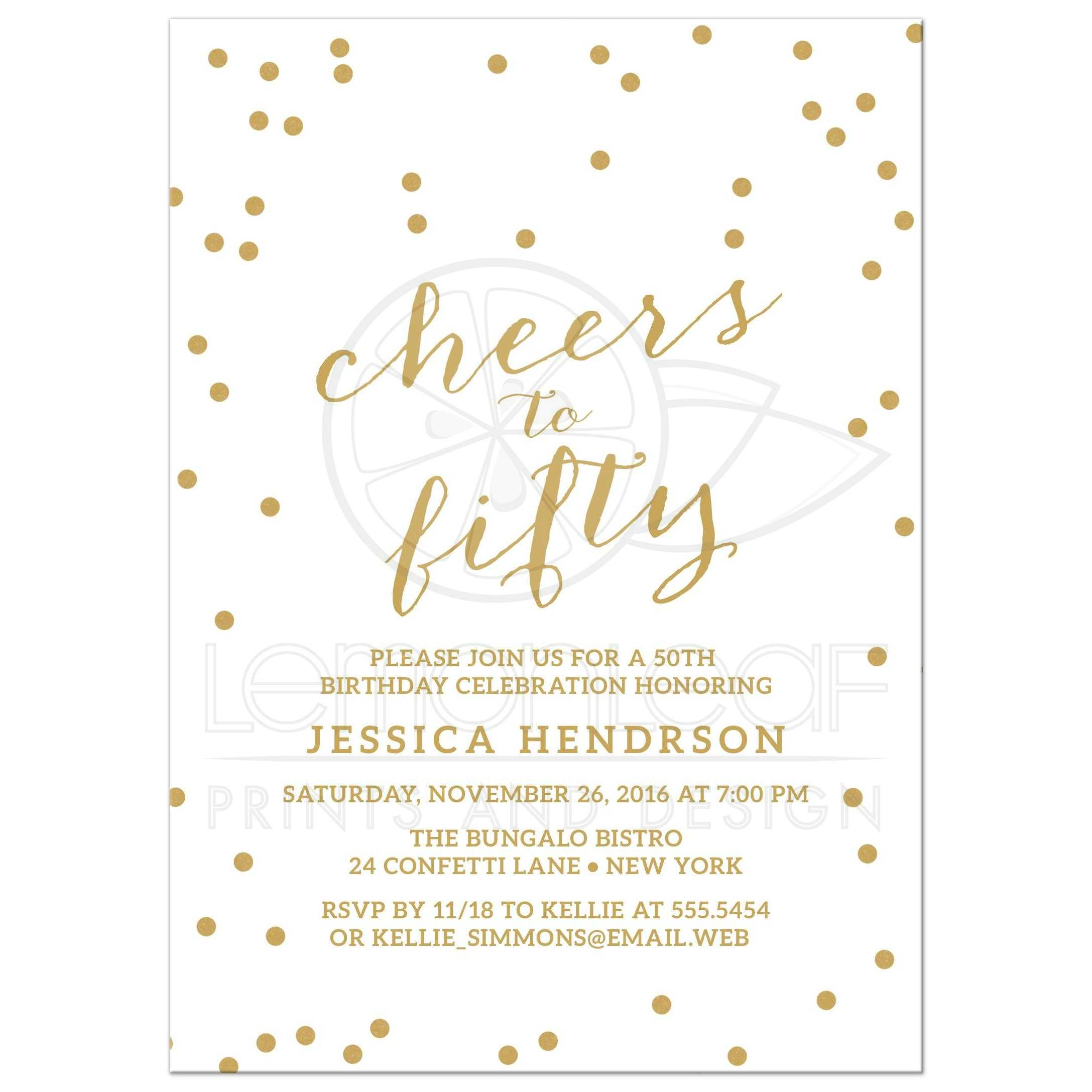 Gold Confetti Cheers To Fifty Birthday Party Invitations Front