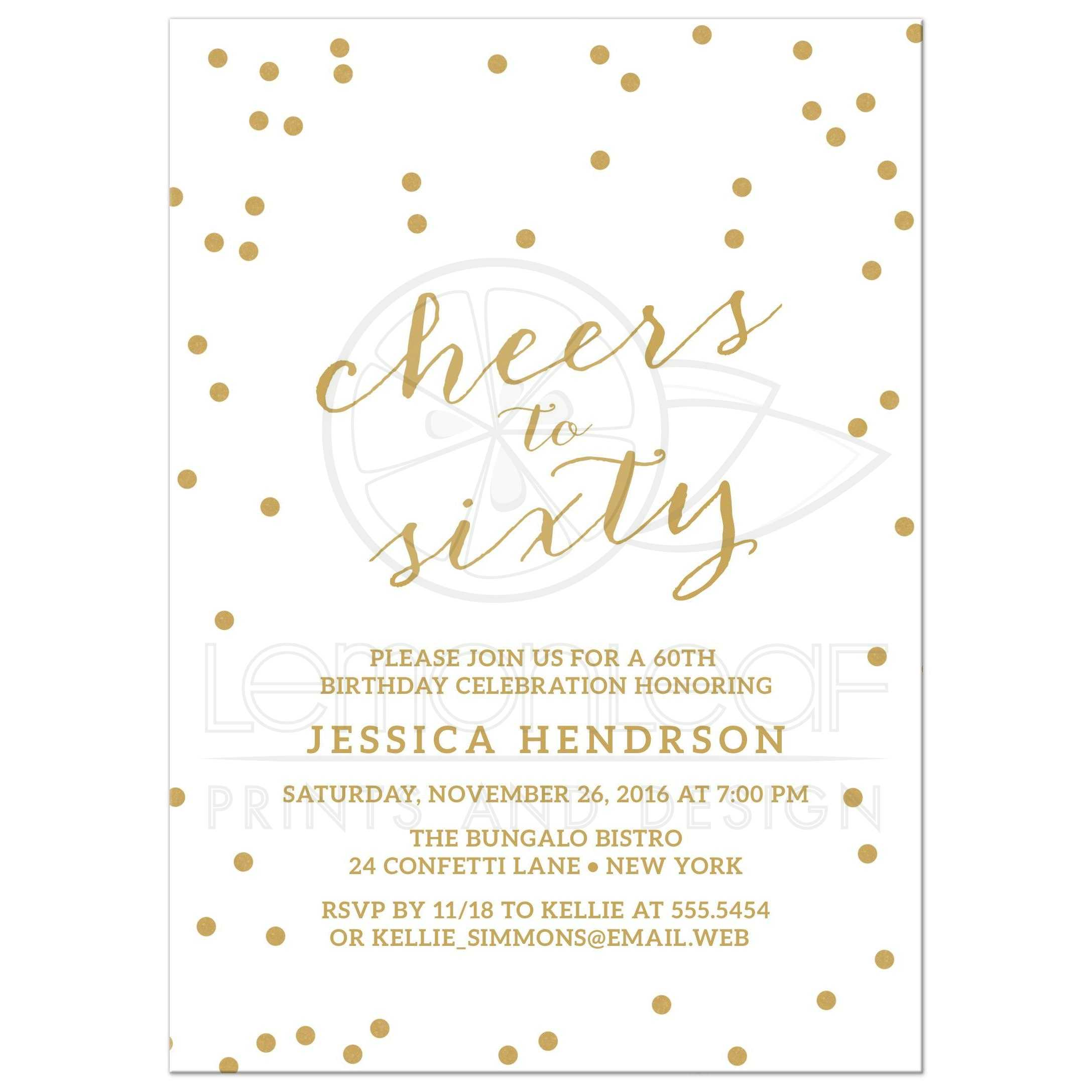 60th Birthday Party Invitations - Gold Confetti Cheers to Sixtieth
