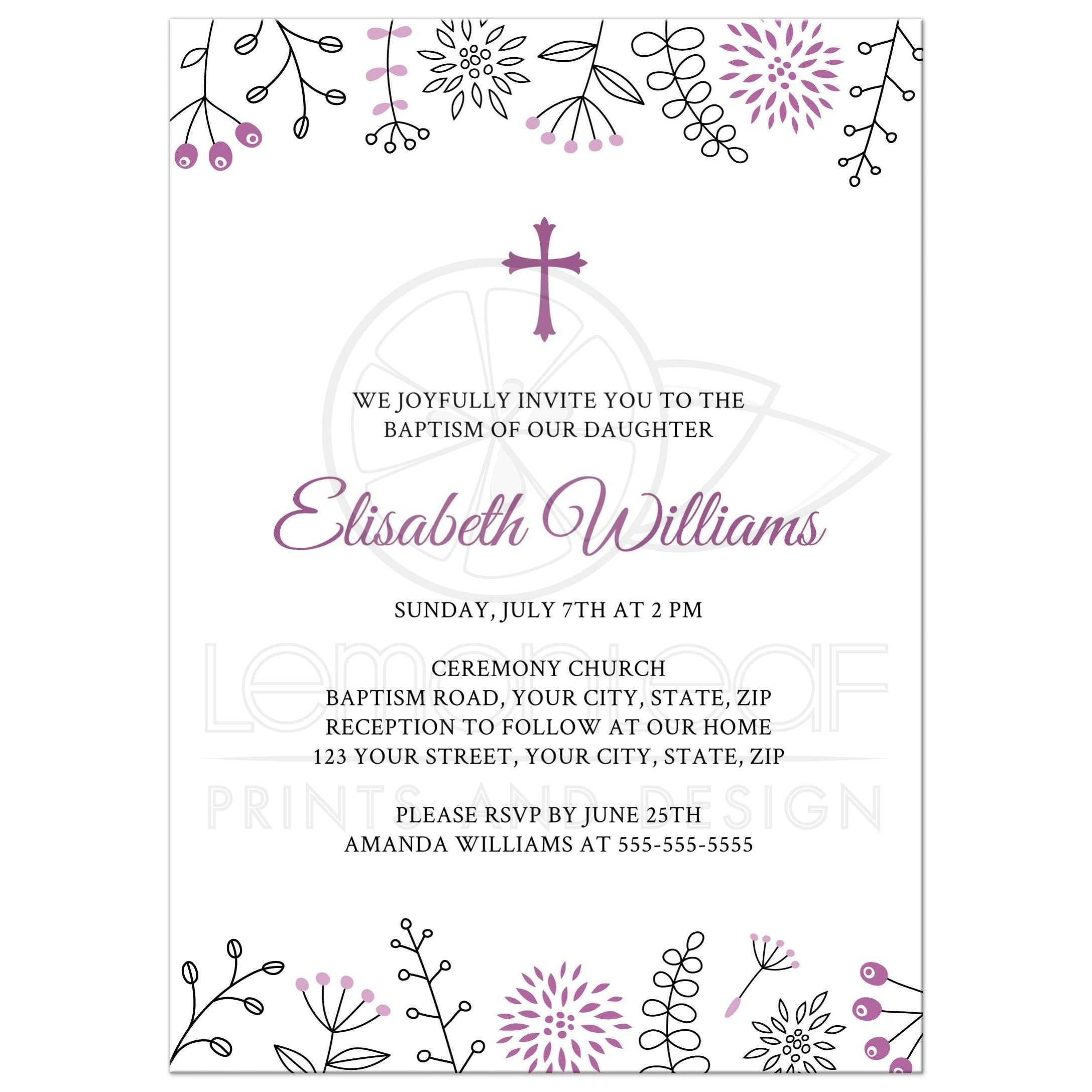 Purple Doodle Flower Borders, A Modern Baptism Or Christening Invite For  Baby Girls.