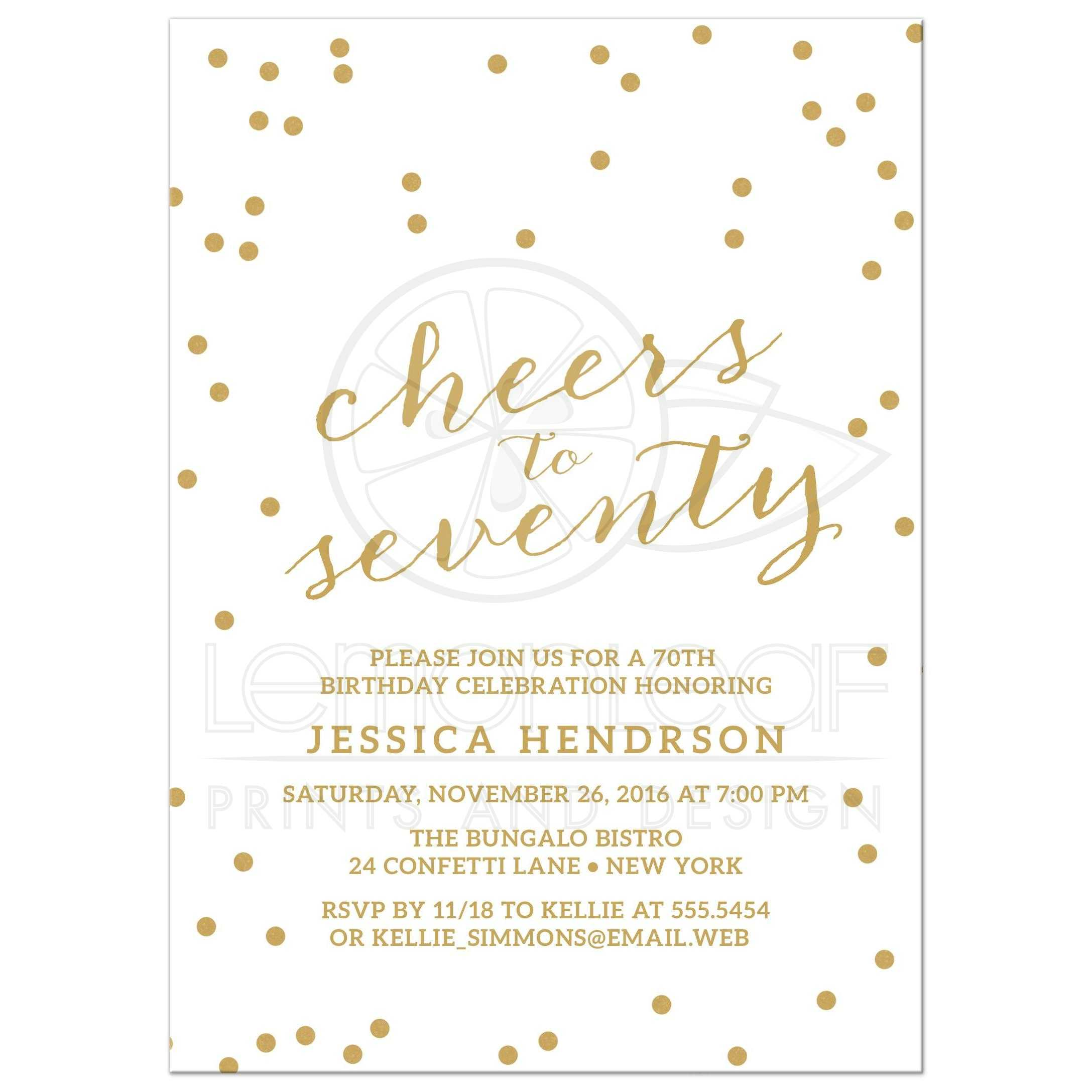 Gold Confetti Cheers To Seventy Birthday Party Invitations Front