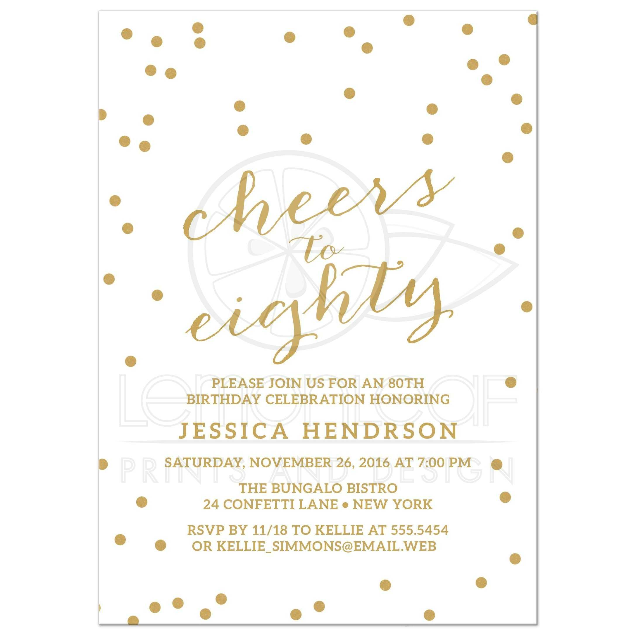 80th Birthday Party Invitations - Gold Confetti Cheers to Eighty