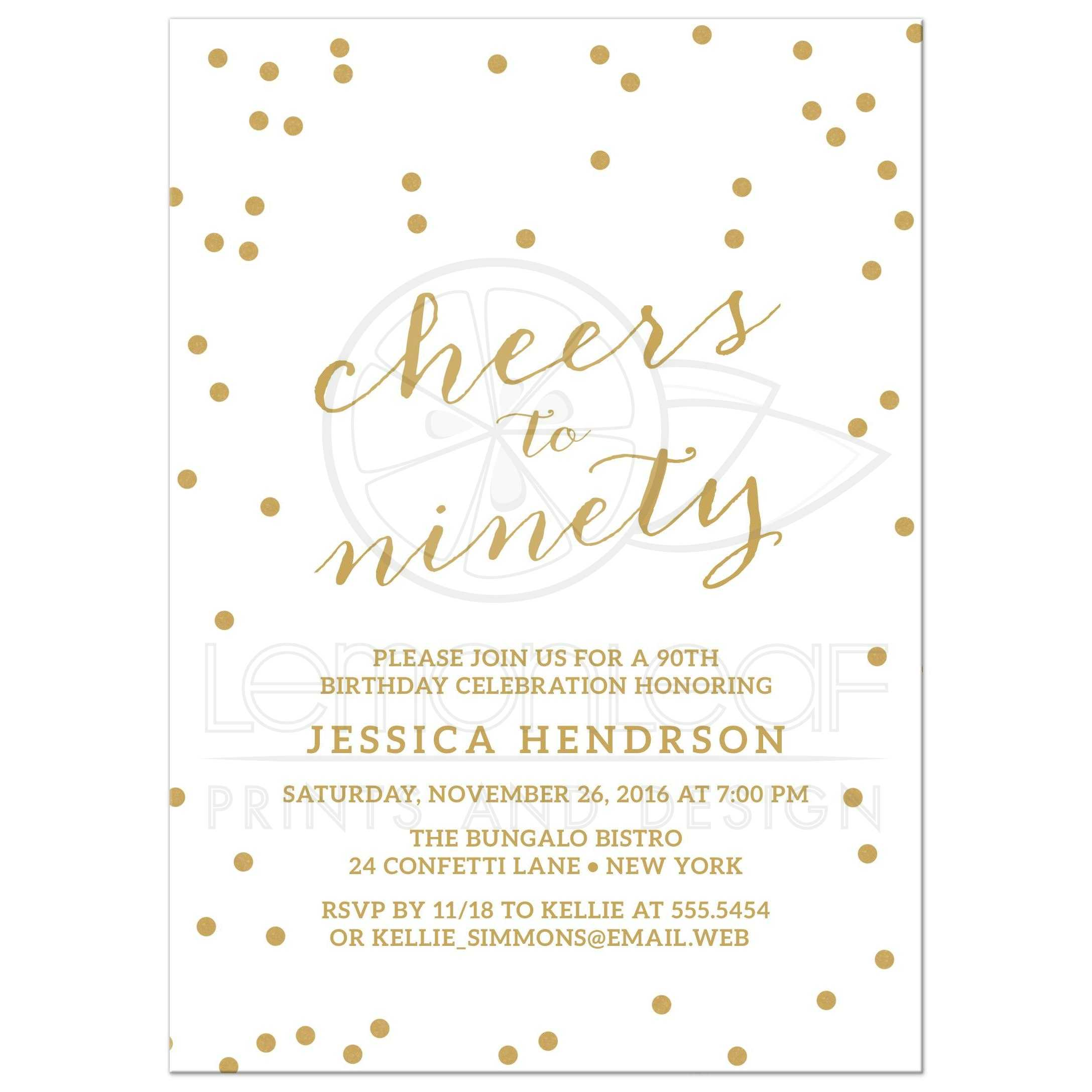 Gold Confetti Cheers To Ninety Birthday Party Invitations Front