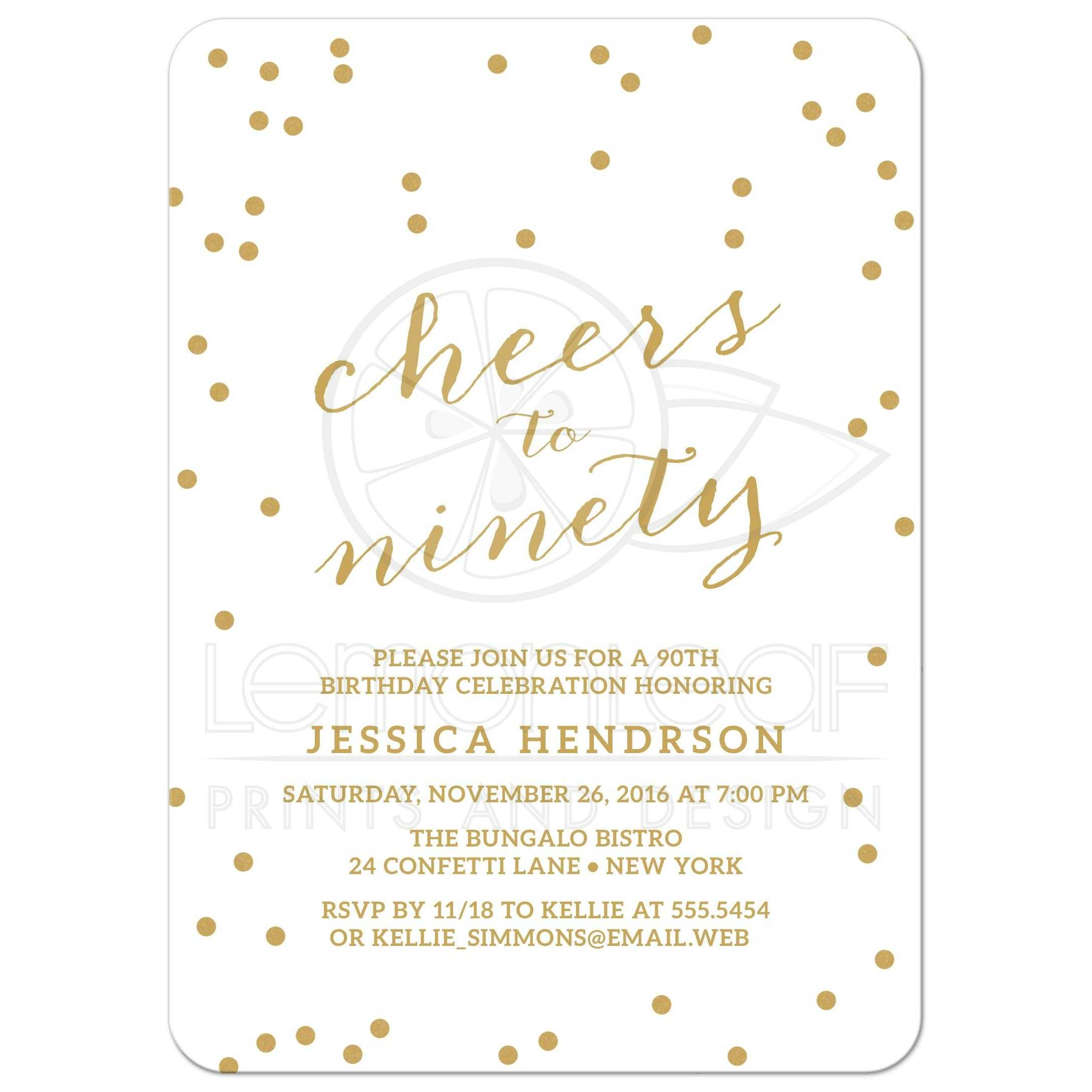 90th Birthday Party Invitations - Gold Confetti Cheers to Ninety