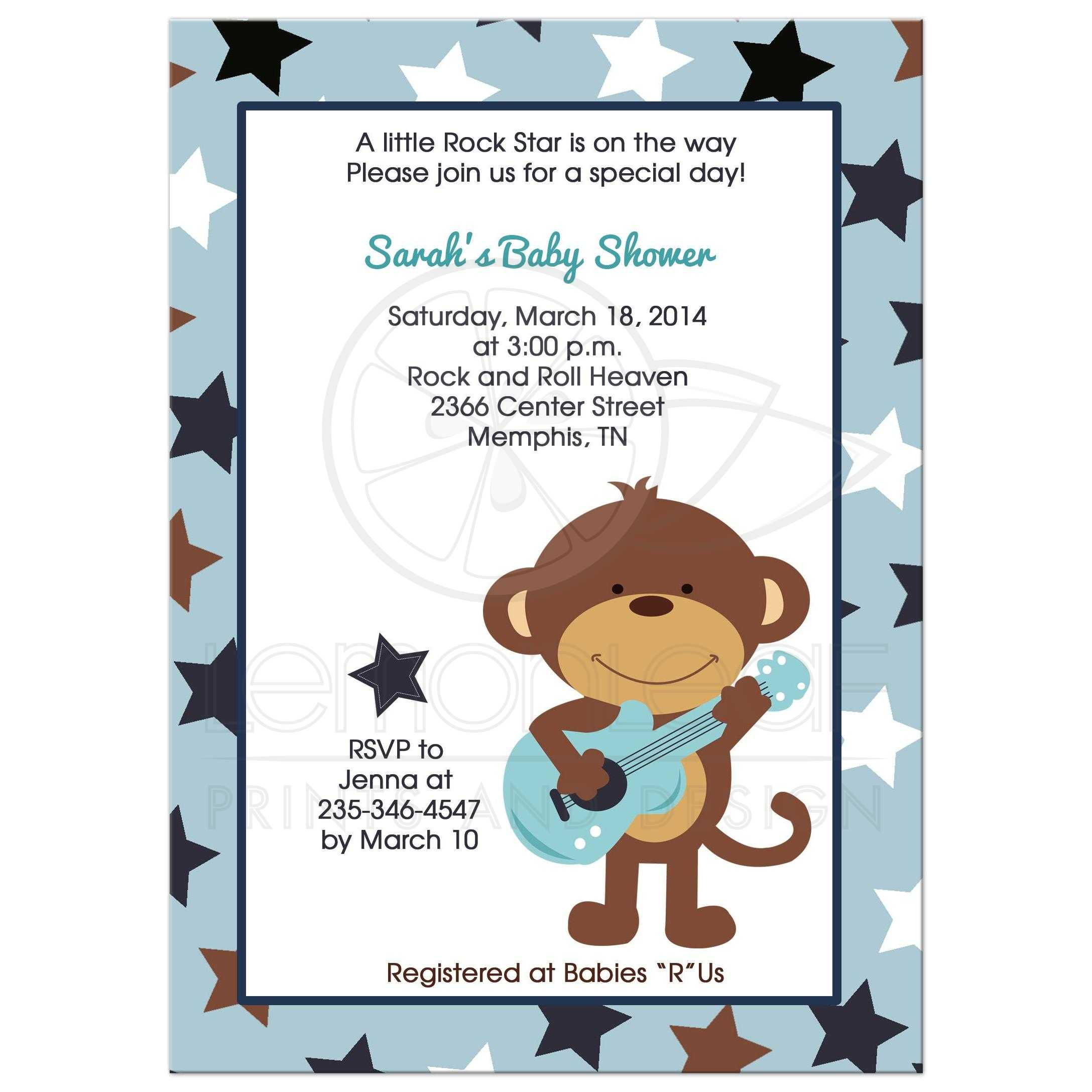 Rock Star Monkey with Guitar Boy Baby Shower Invitation