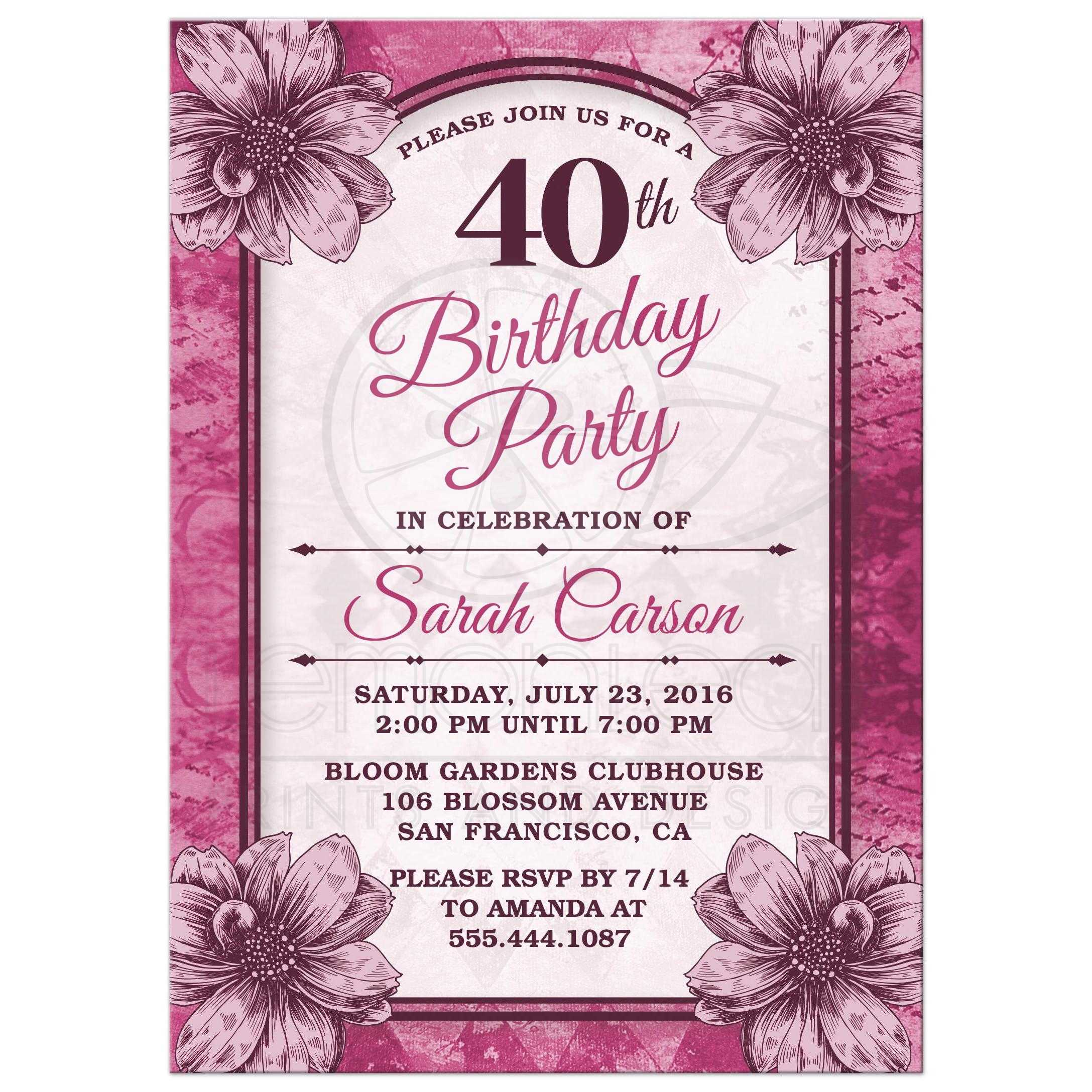 40th Birthday Party Invitations Fuchsia Flowers