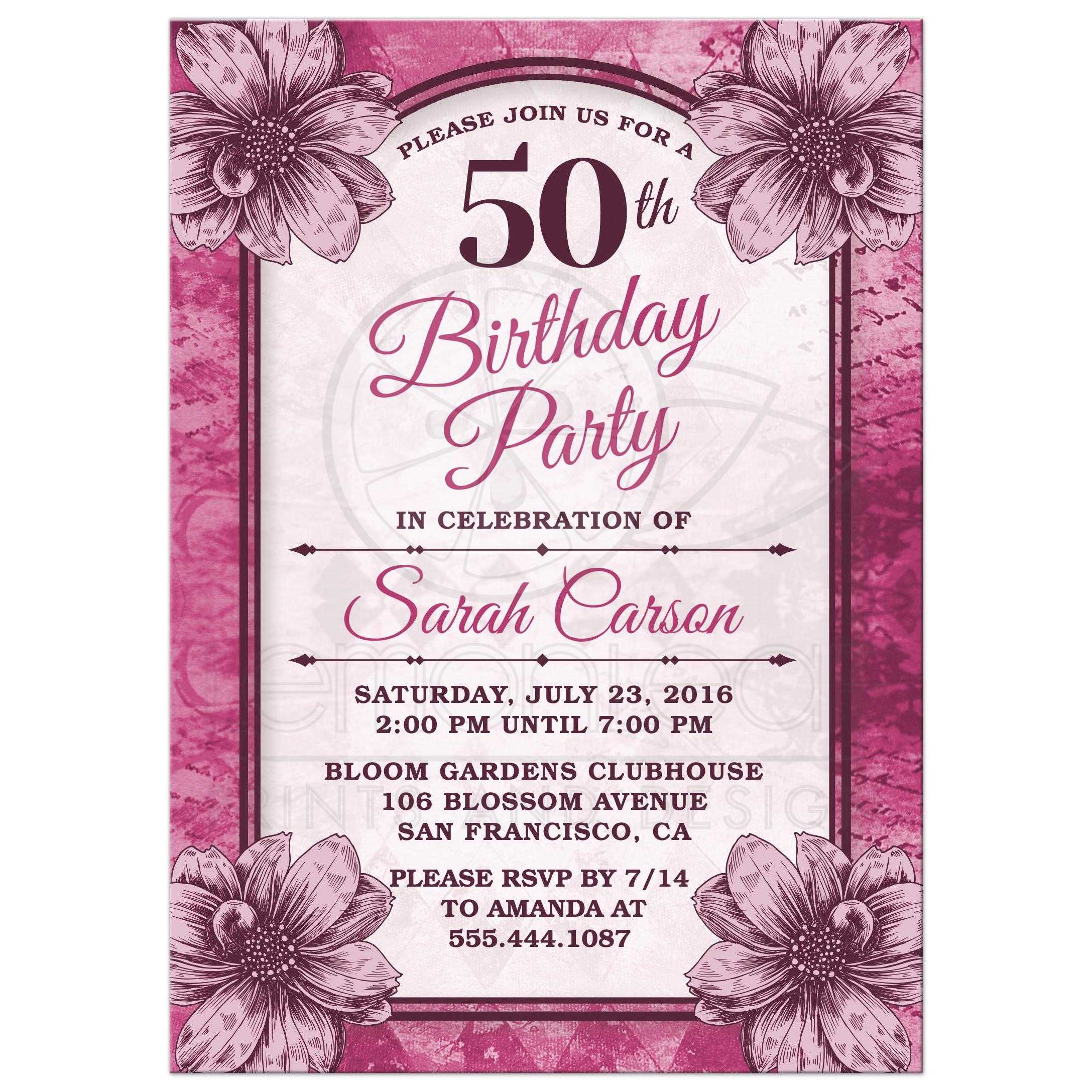 Fuchsia Flowers 50th Birthday Party Invitations Front