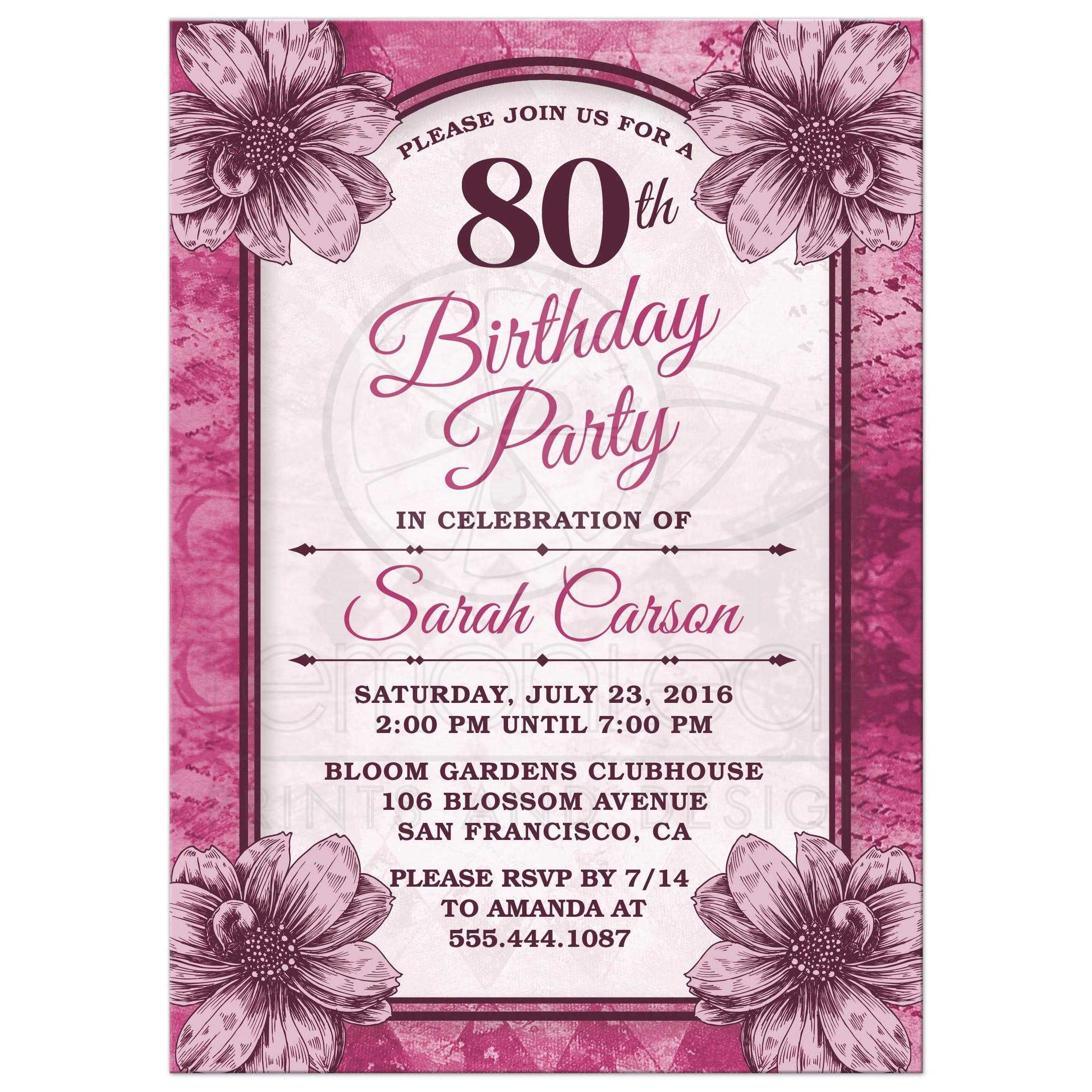 Fuchsia Flowers 80th Birthday Party Invitations Front