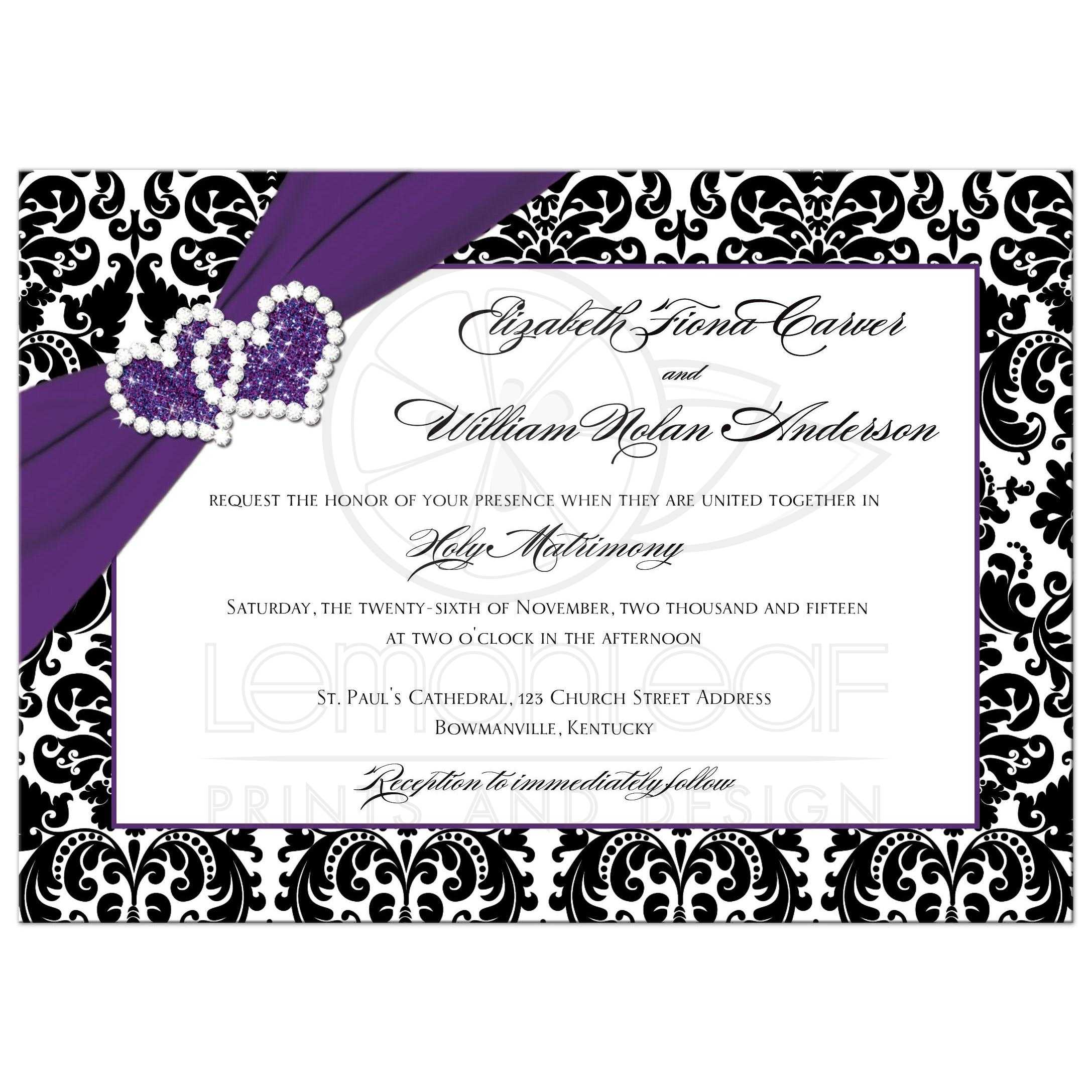 Wedding Invitation Purple Black White Damask Joined Hearts