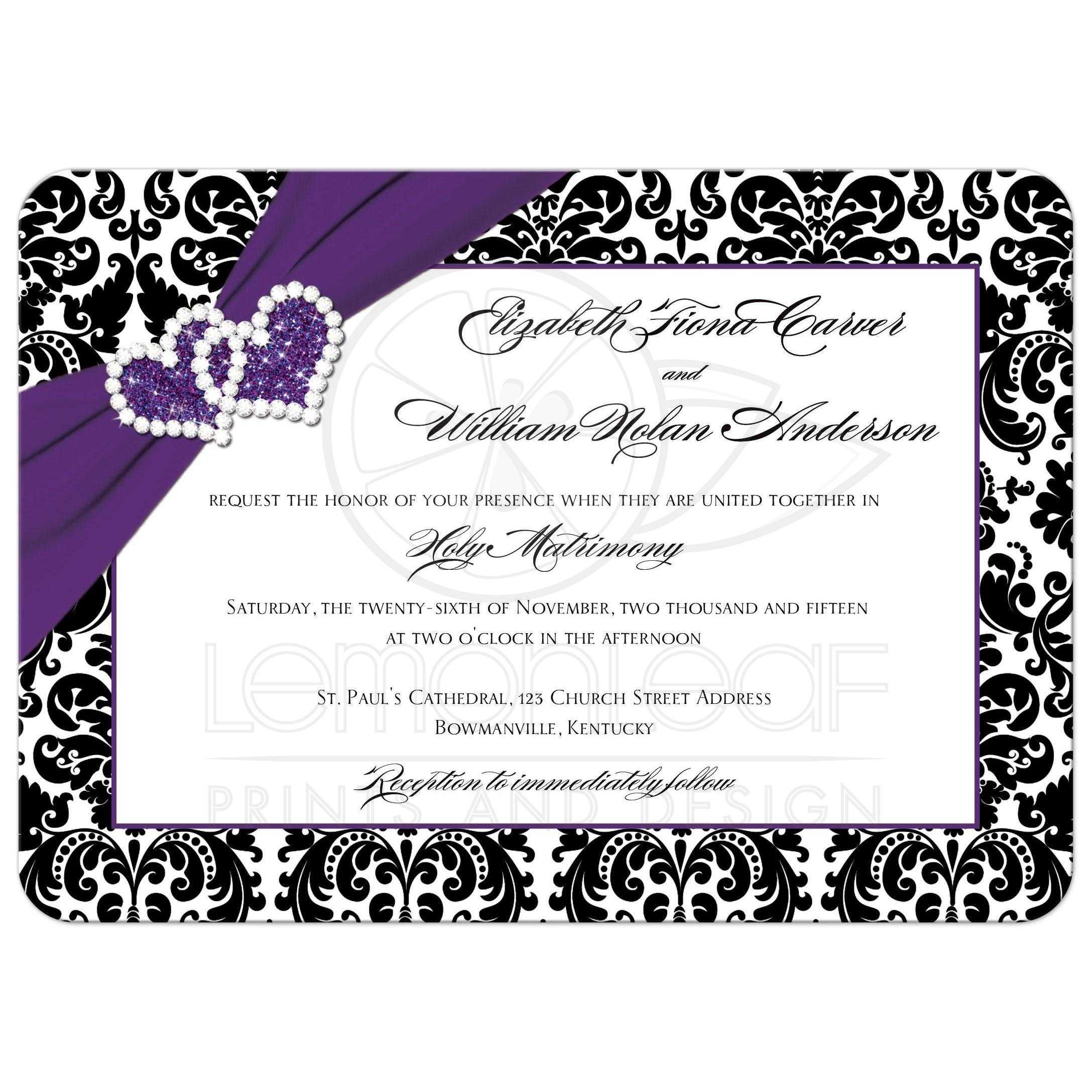 Wedding Invitation | Purple, Black, White Damask | Joined Hearts