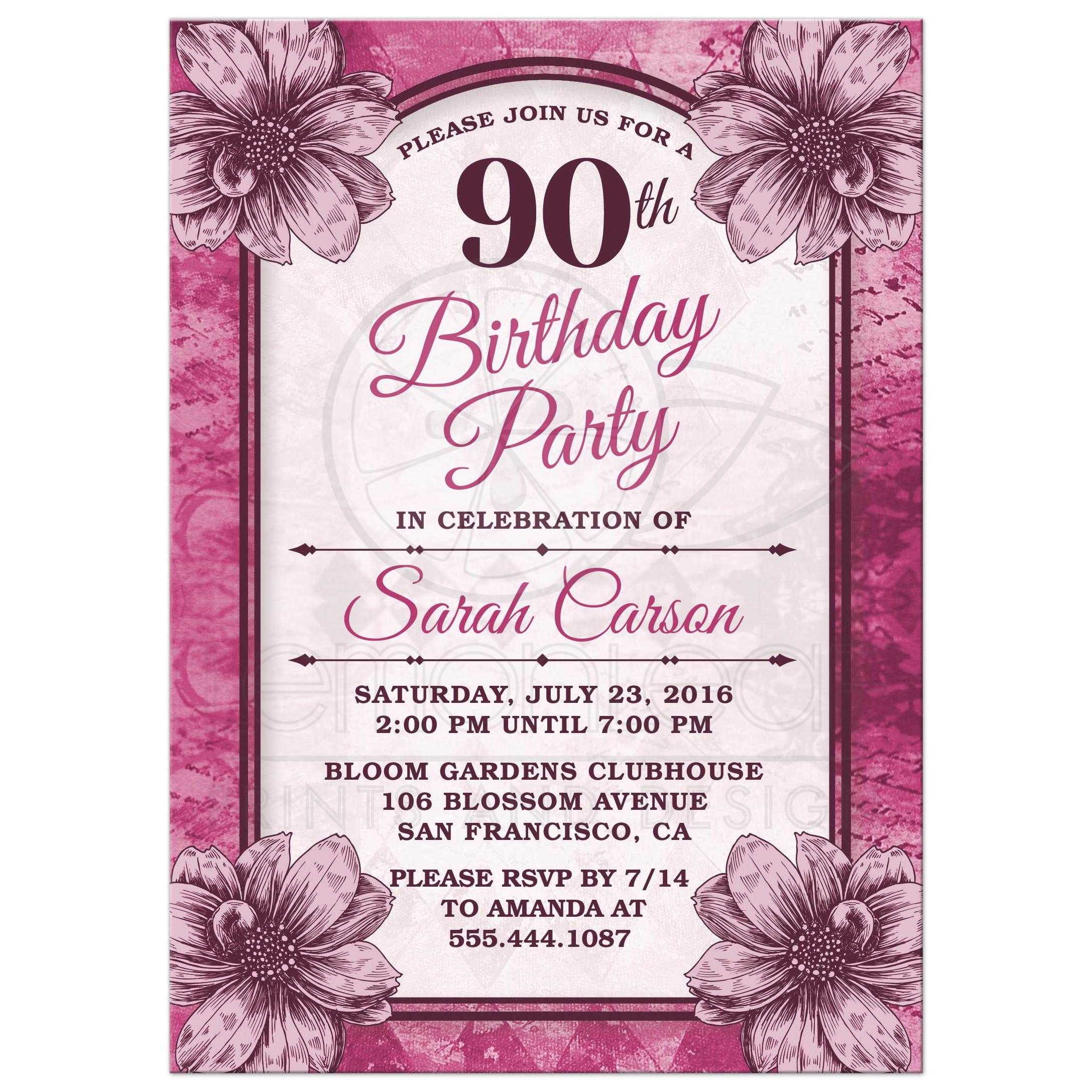 Fuchsia Flowers 90th Birthday Party Invitations Front