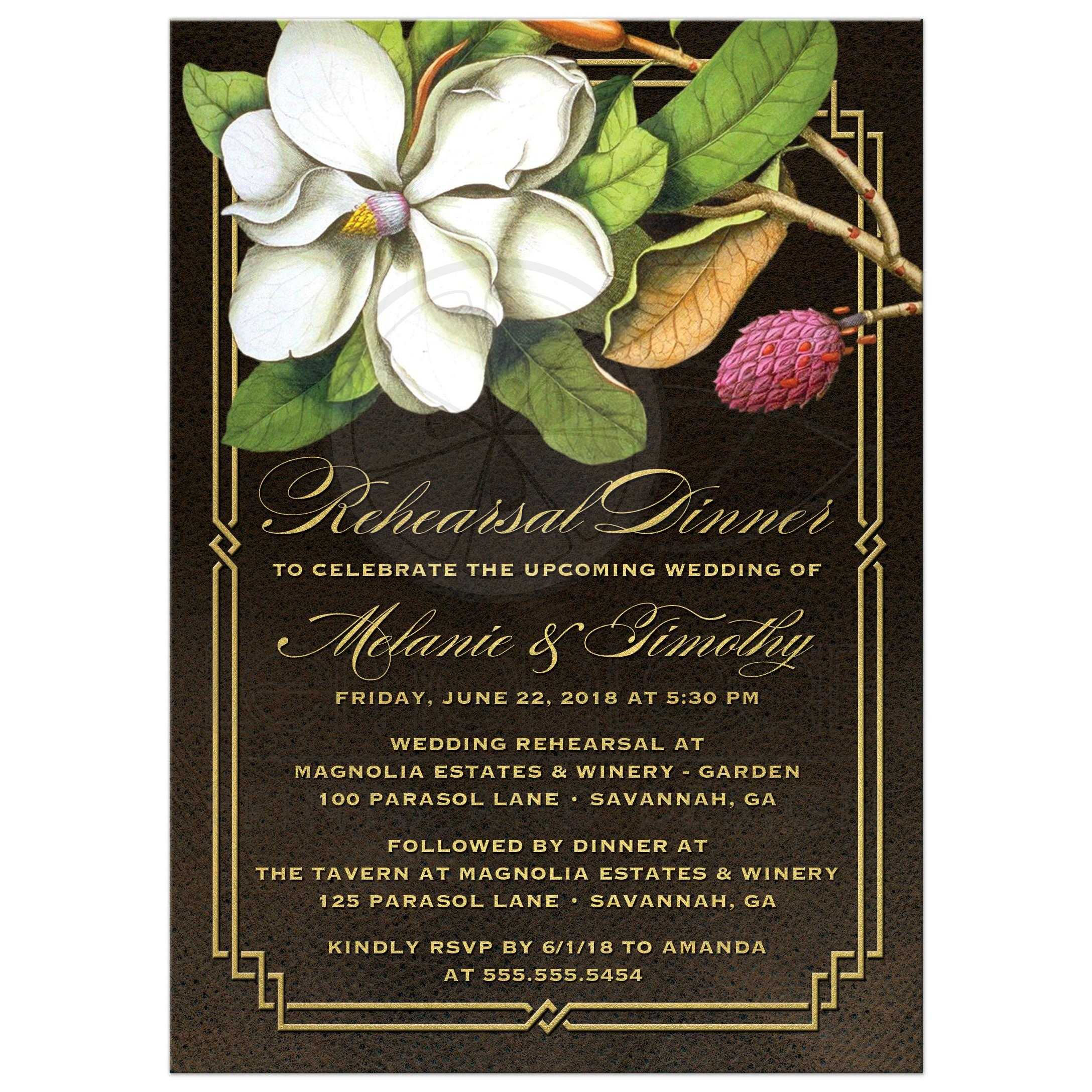 Wedding Rehearsal Dinner Invitations - Elegant Vintage Southern Magnolia