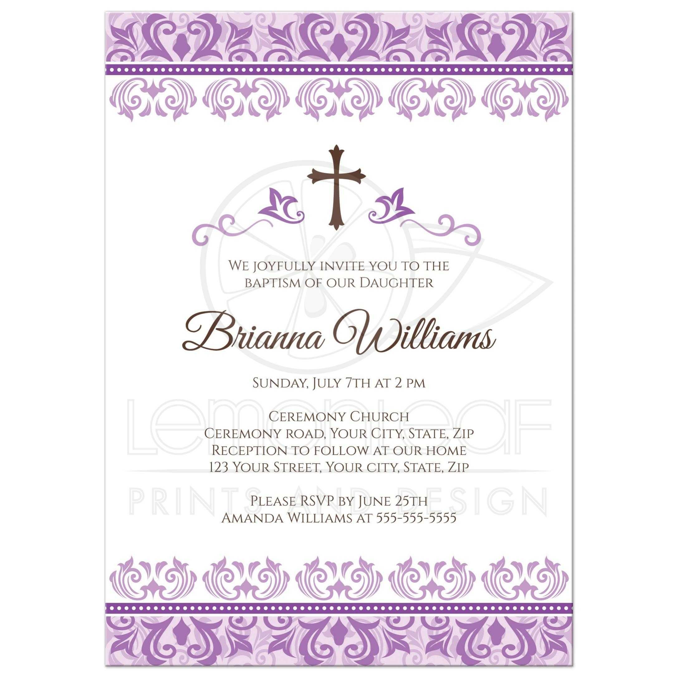 Elegant Baptism Or Christening Invitation For Baby Girls With Ornate,  Purple Damask Borders.