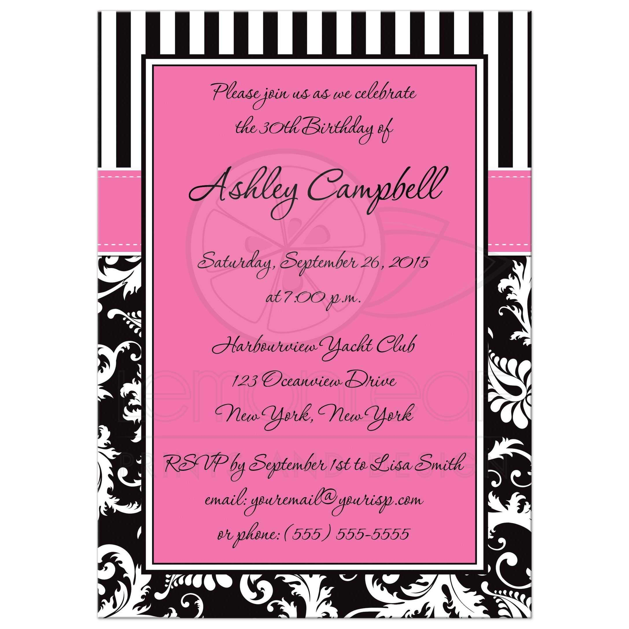 30th birthday invitation pink black white stripes floral damask black white pink 30th birthday invitation with stripes and floral damask pattern filmwisefo