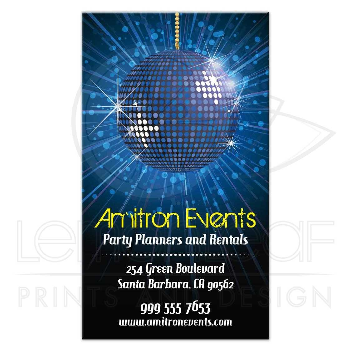 Business card party planning equipment rental blue mirror ball colourmoves