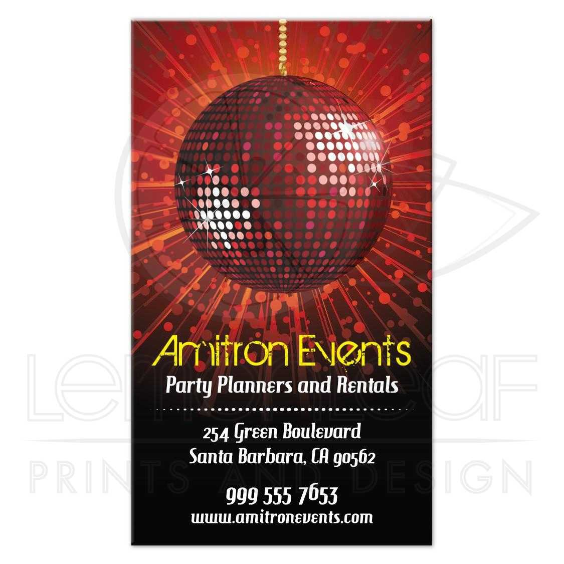 Card - Party Planning Equipment Rental Red Mirror Ball