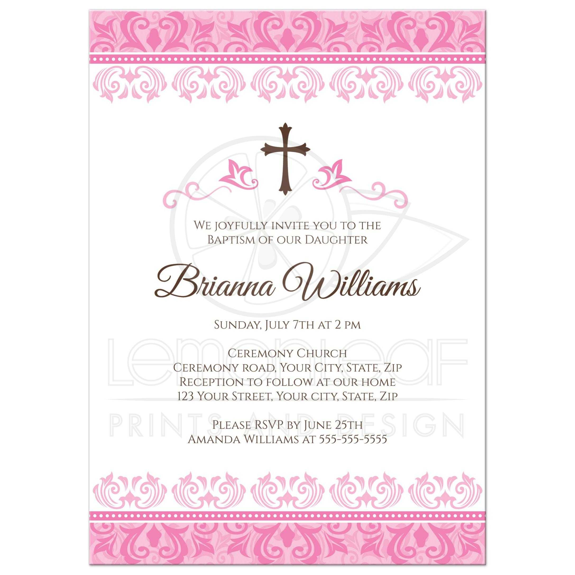 Ornate Pink Damask Borders Baptism Christening Invitation For Girls