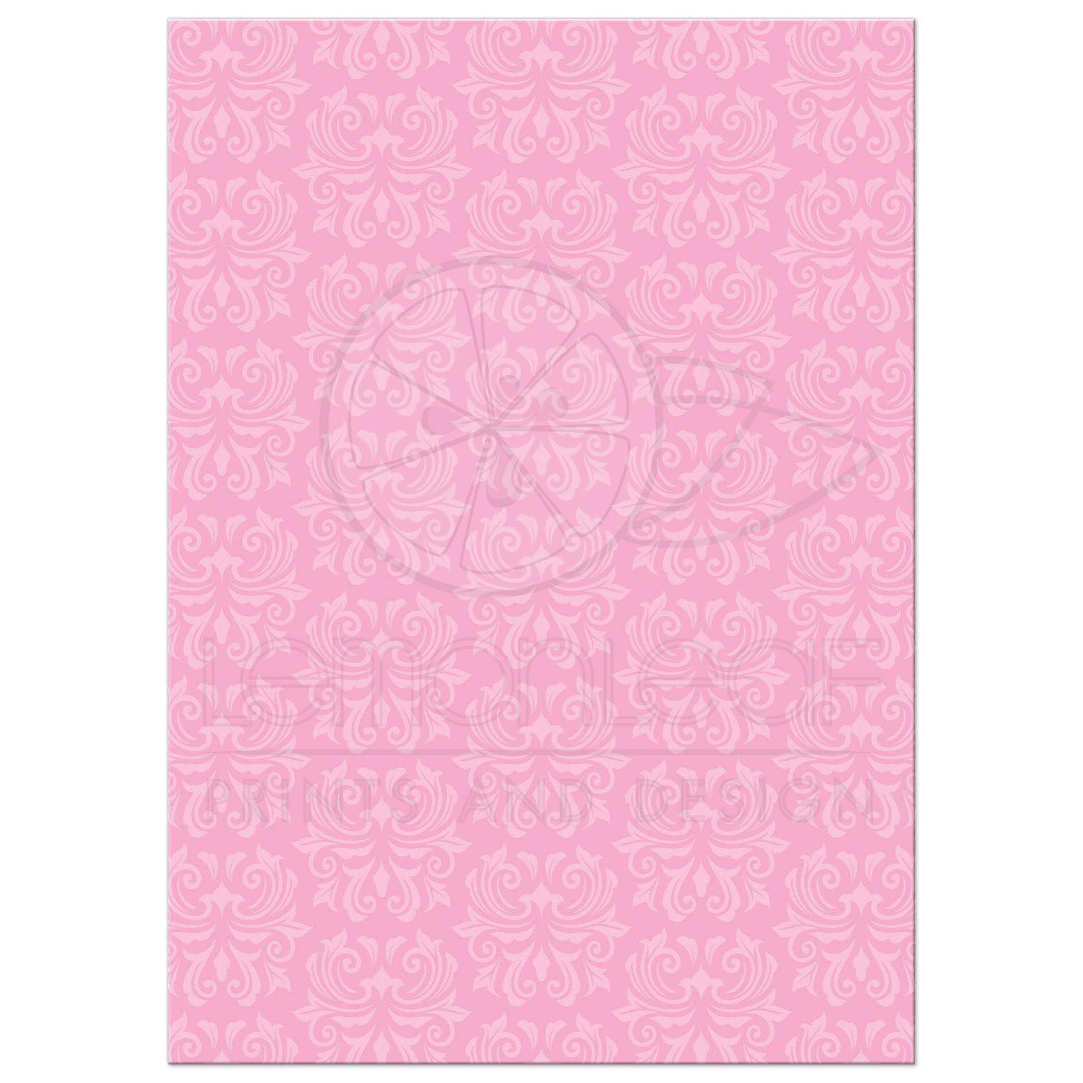 Ornate, pink damask borders baptism/christening invitation ...