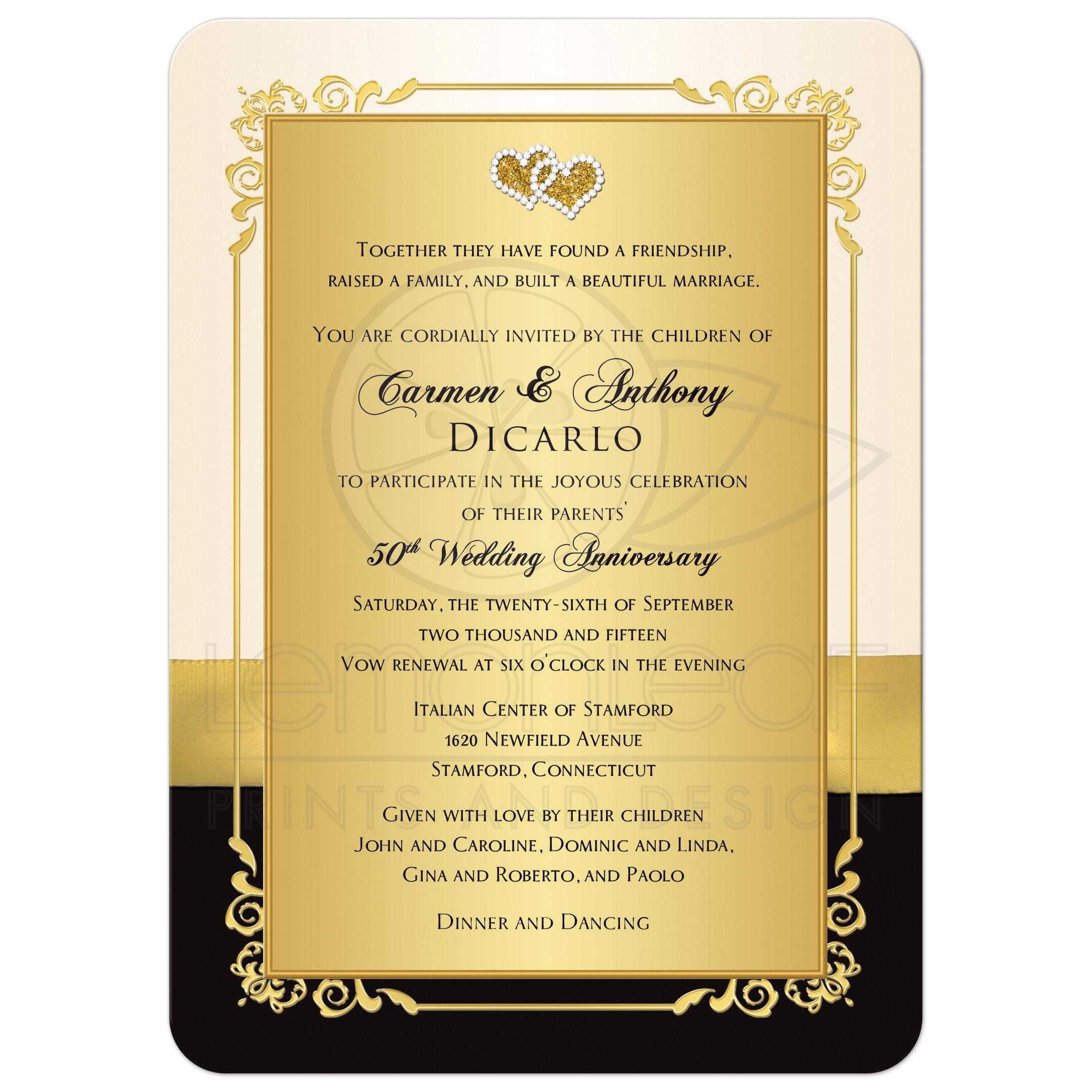 50th Anniversary Invite Ivory Black Gold PHOTO Printed Bow