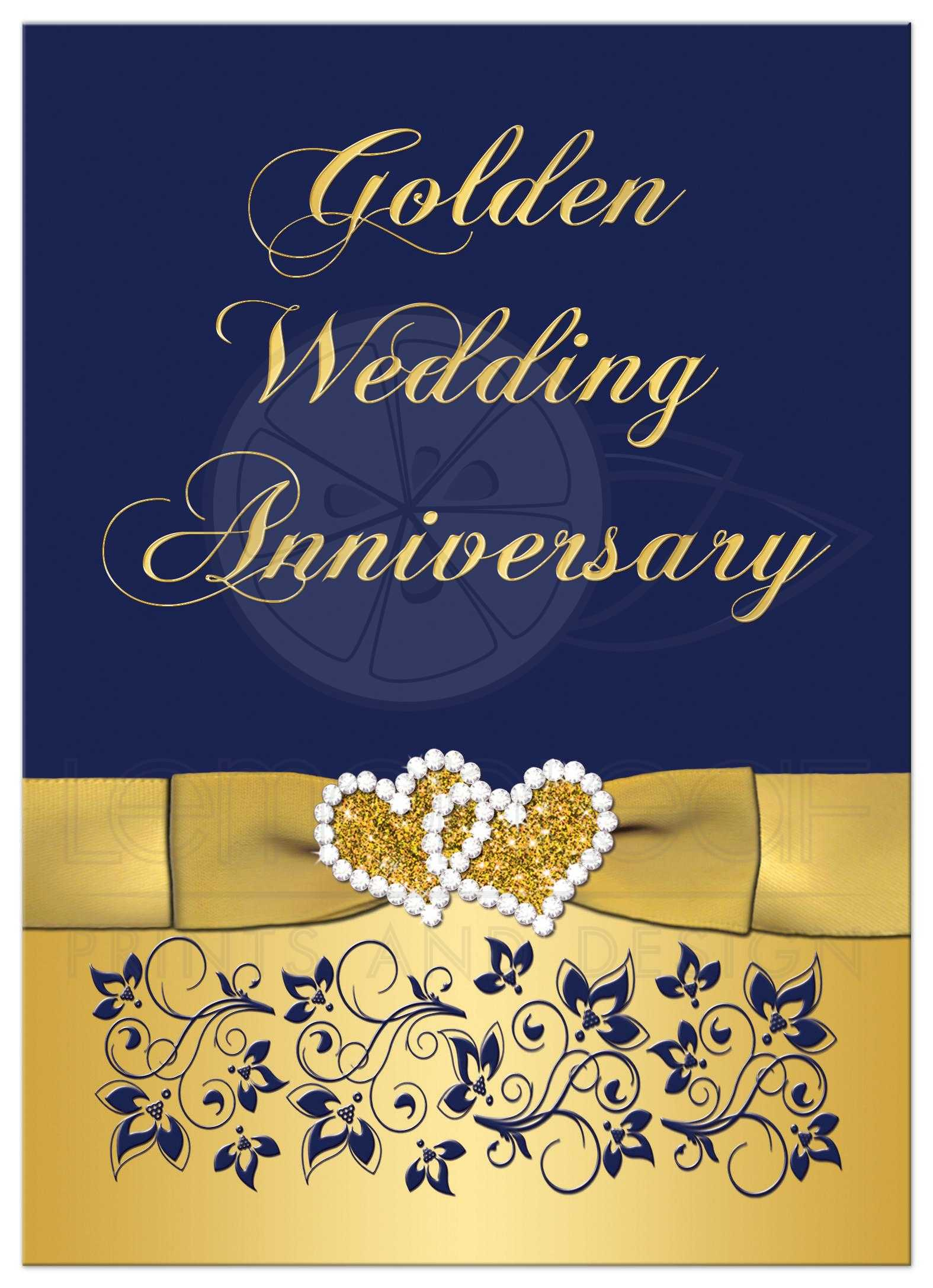 50th Wedding Anniversary Invitation In Navy And Gold Floral With Joined  Hearts ...
