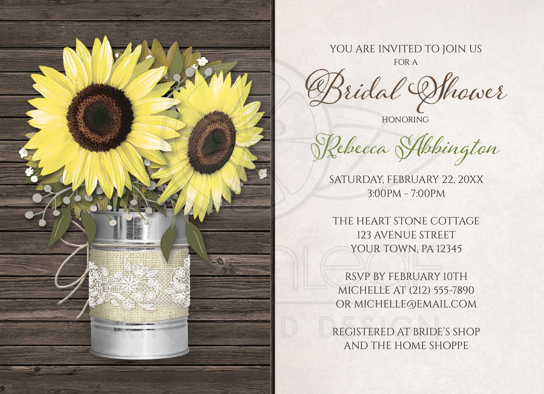 Bridal Shower Invitations Rustic Burlap Lace Tin Can Sunflower