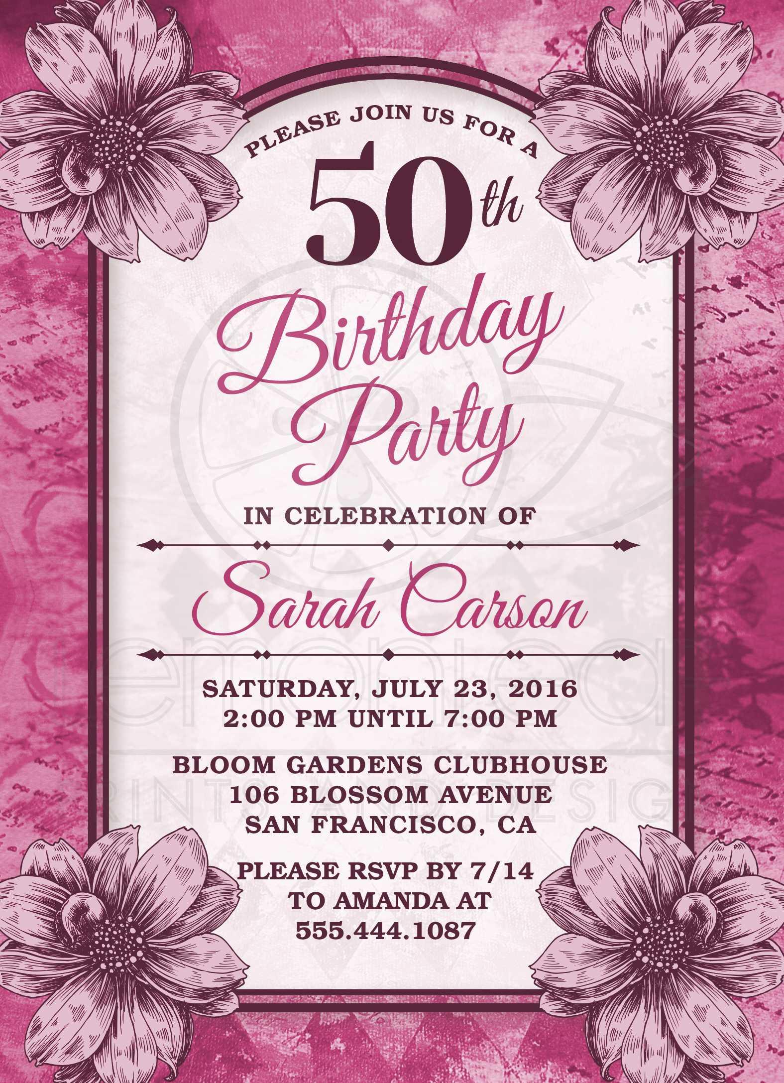 50th Birthday Party Invitations - Fuchsia Flowers