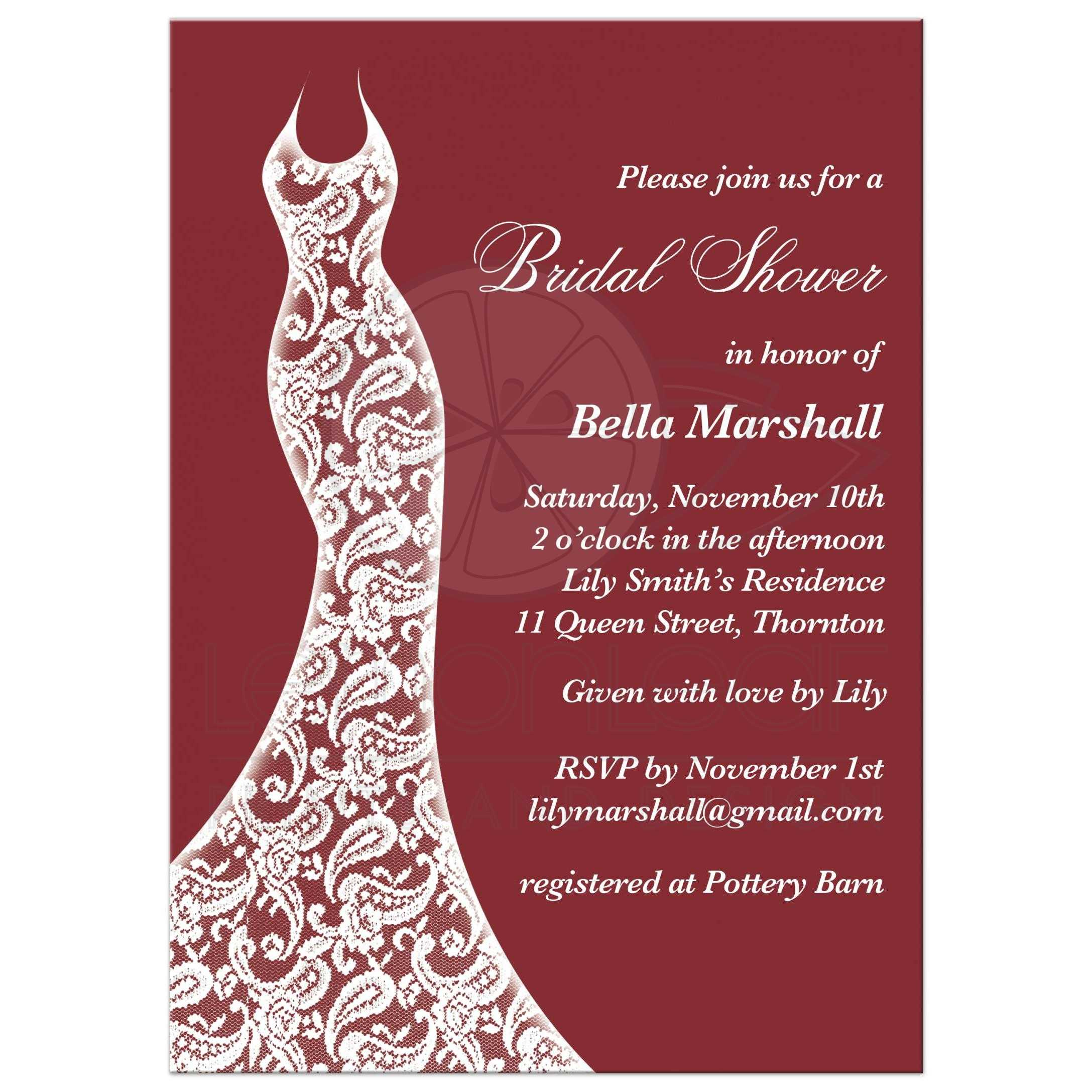 Bridal Shower Invitation - Beautiful Marsala