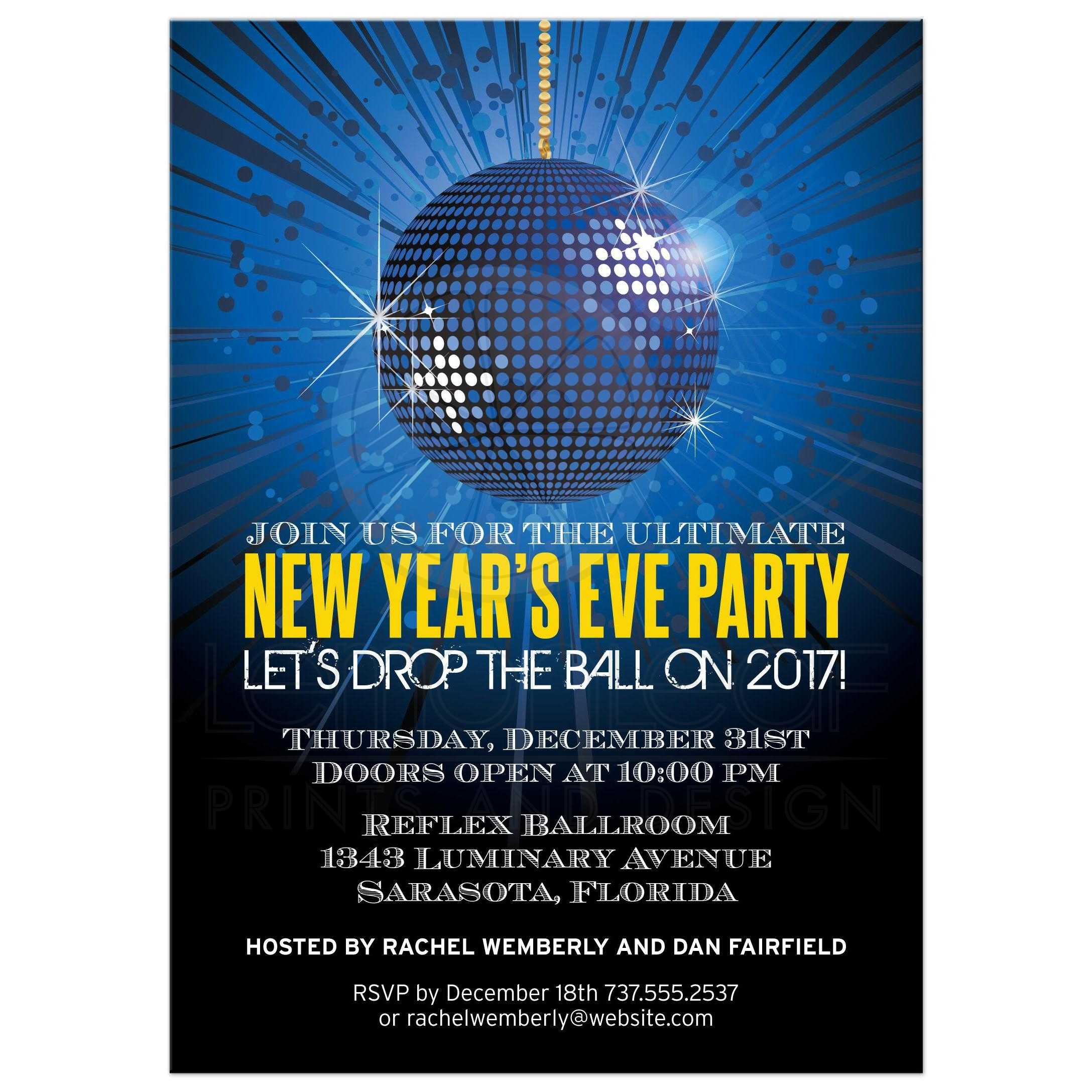 party invitation blue mirror ball new years eve