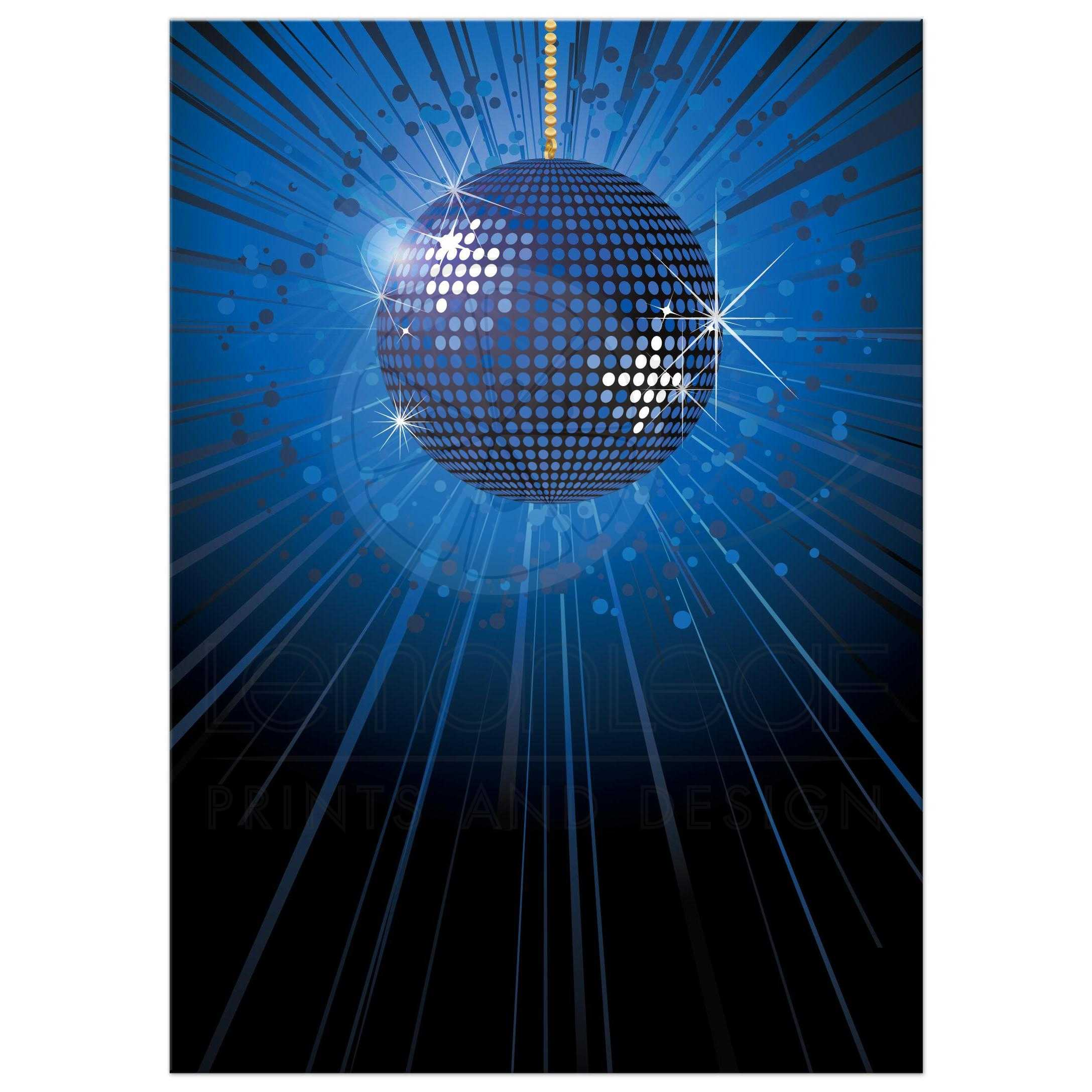 Party Invitation - Blue Mirror Ball New Years Eve