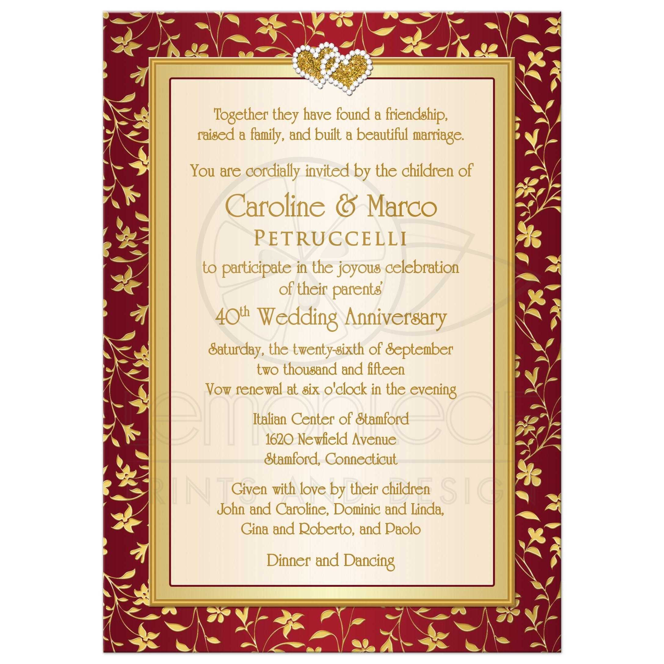 Best 40th Wedding Anniversary Invitation In Red, Ivory, And Gold Floral ...