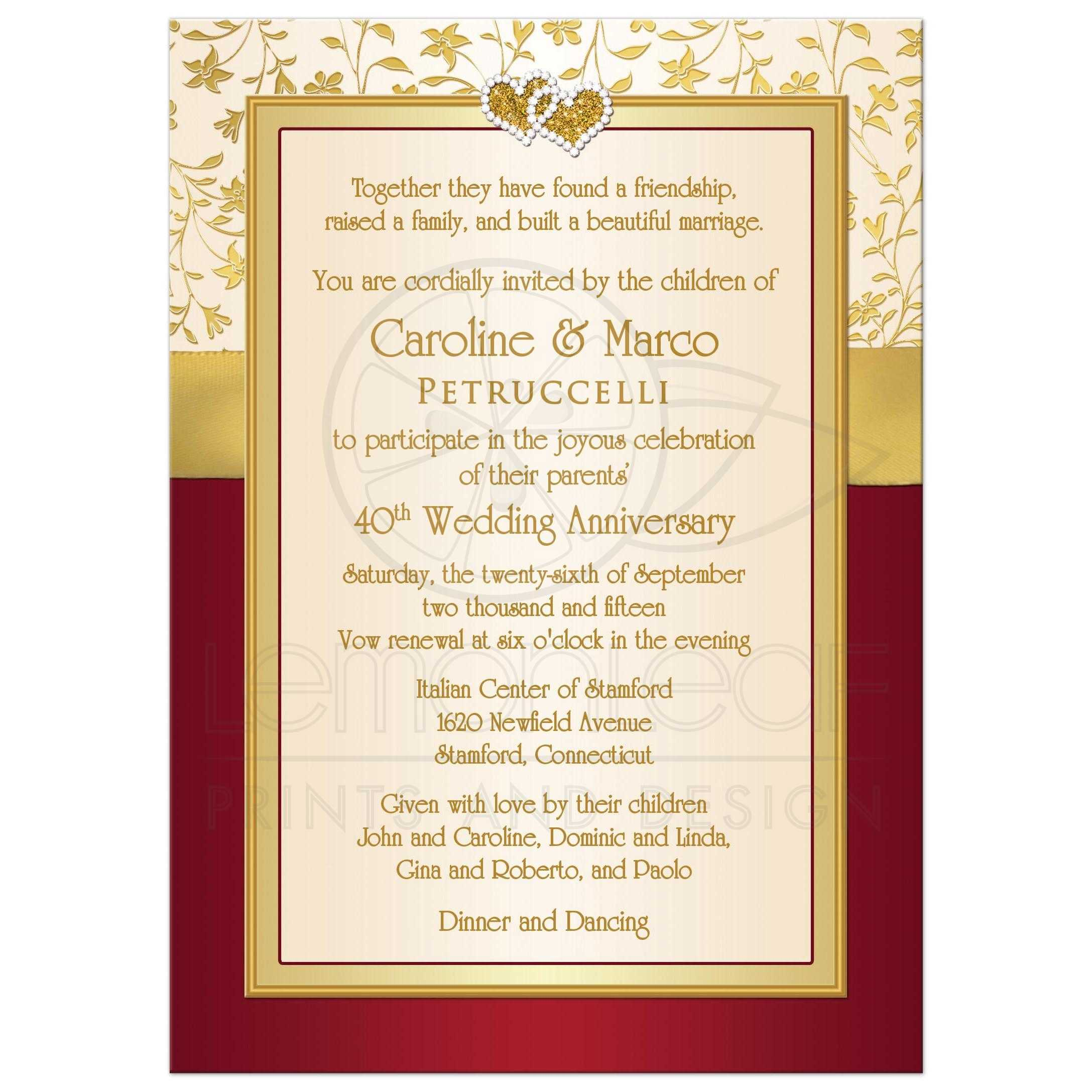 40th wedding anniversary invitation red ivory gold floral printed ribbon joined hearts - Wedding anniversary invitations ...