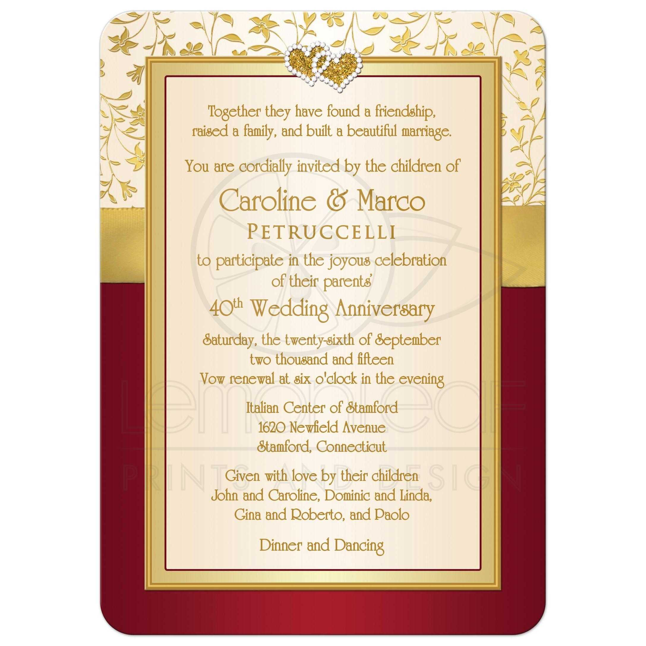 40th Wedding Anniversary Invitation | Red, Ivory, Gold Floral ...