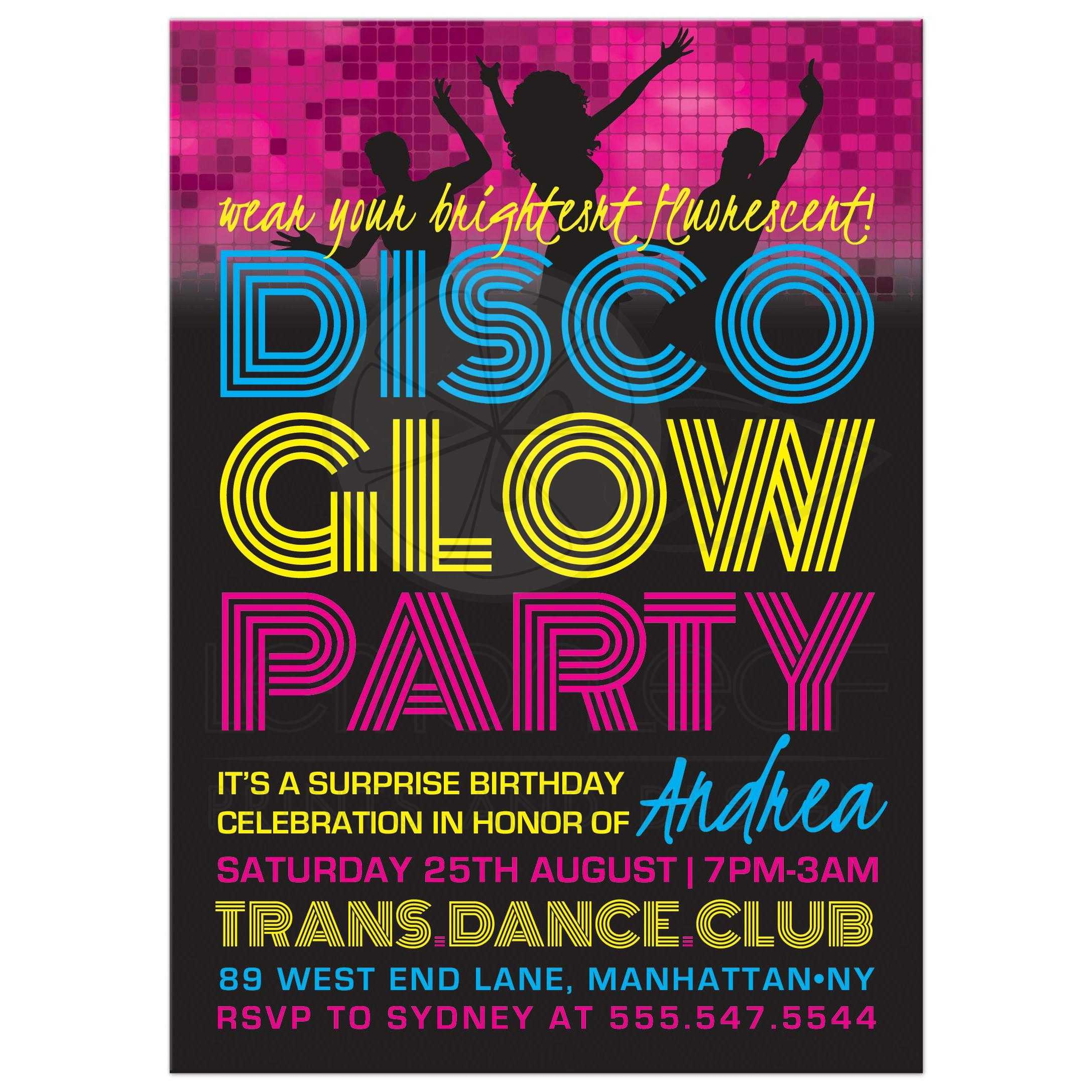 Teen Birthday Party Invitations Disco Glow Party