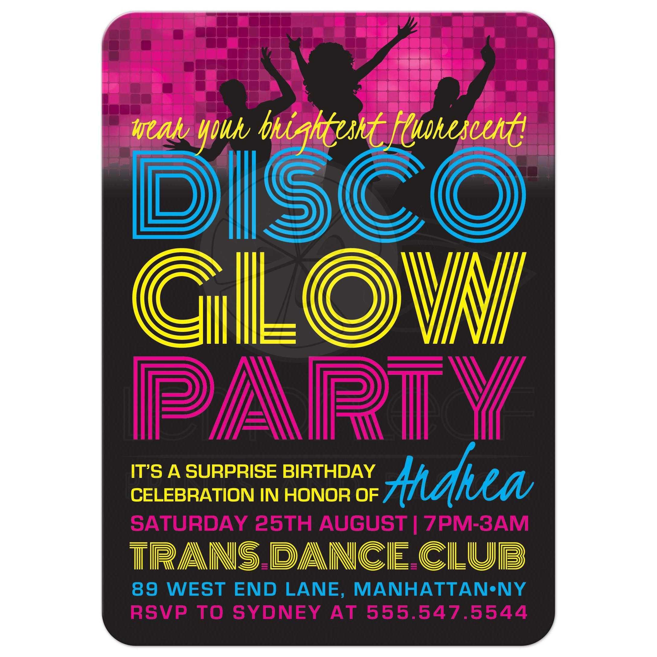 Birthday Party Invitations Disco