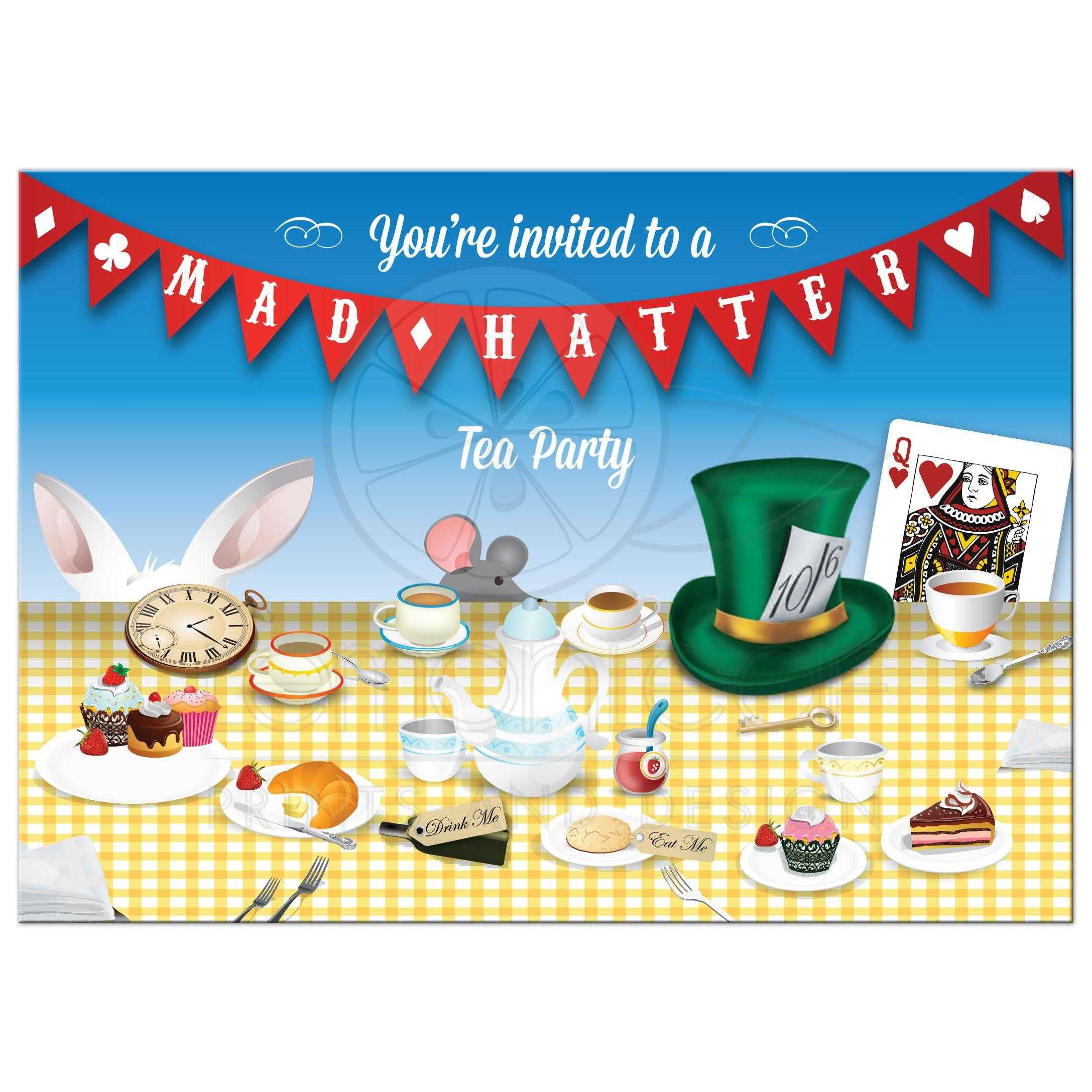 Party Invitation Mad Hatter Tea Party