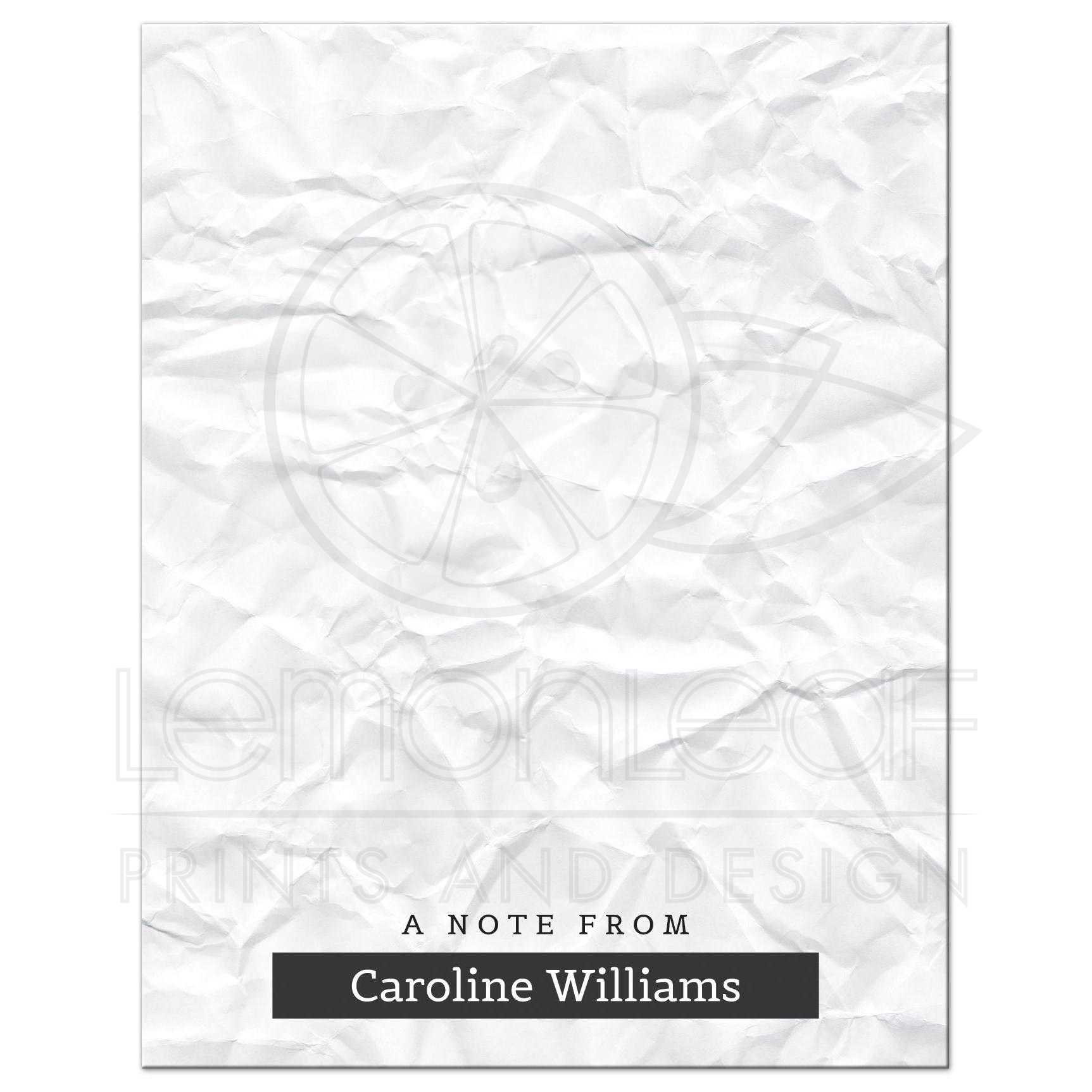 Crumpled paper modern flat note card with personalized name