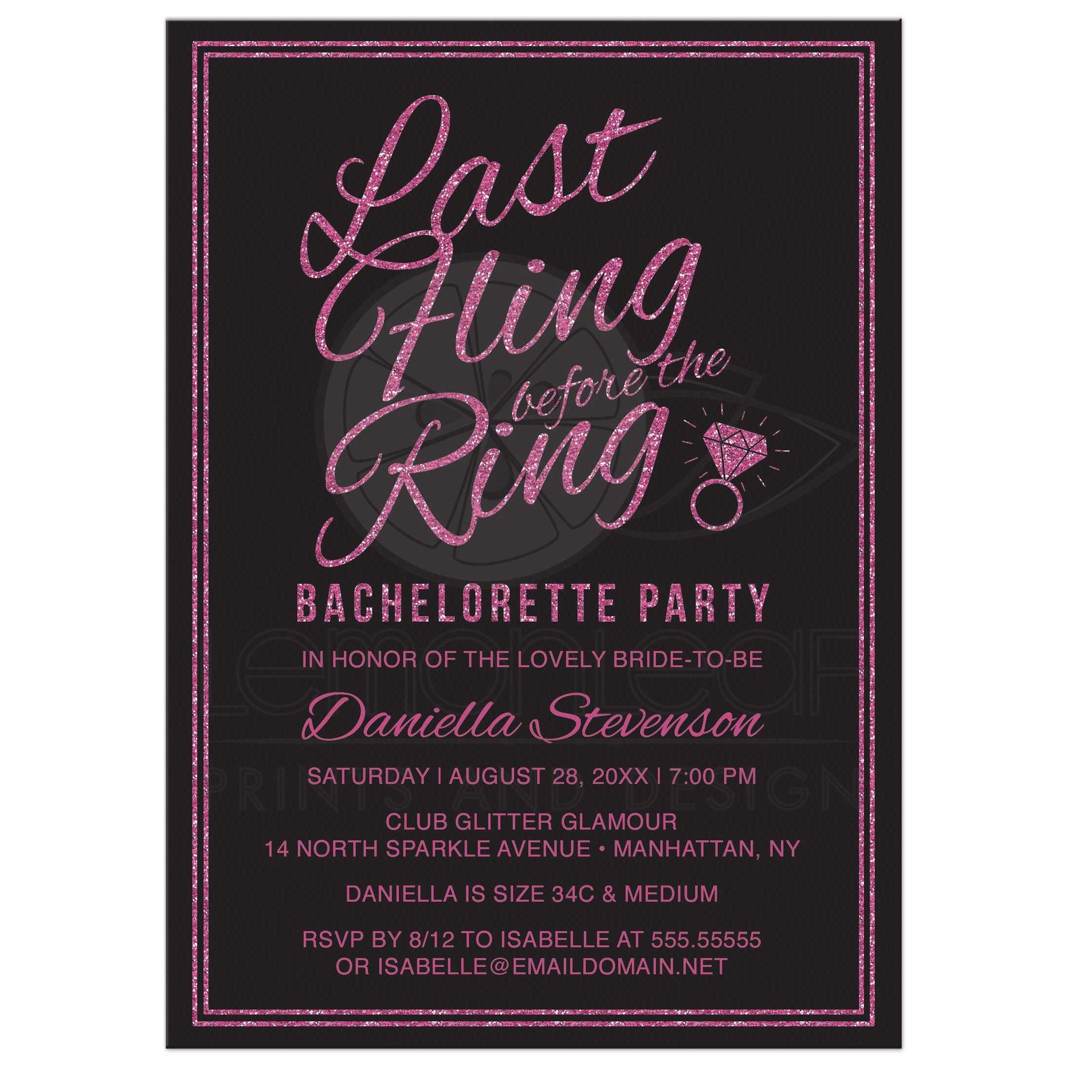 Glitter Look Last Fling Before The Ring Bachelorette Party Invitations Front