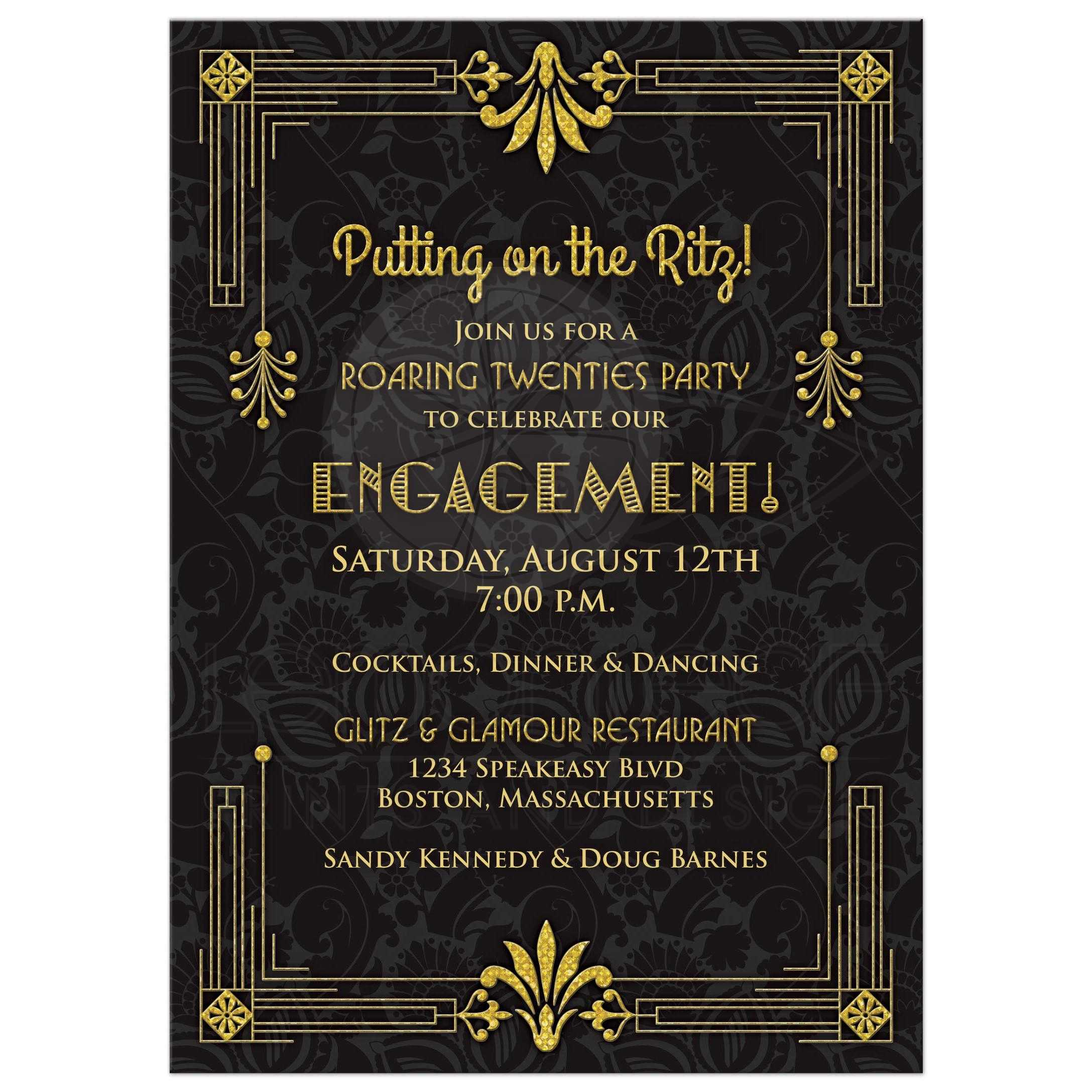 roaring 20s art deco black and gold damask engagement party invitation front - Engagement Party Invite
