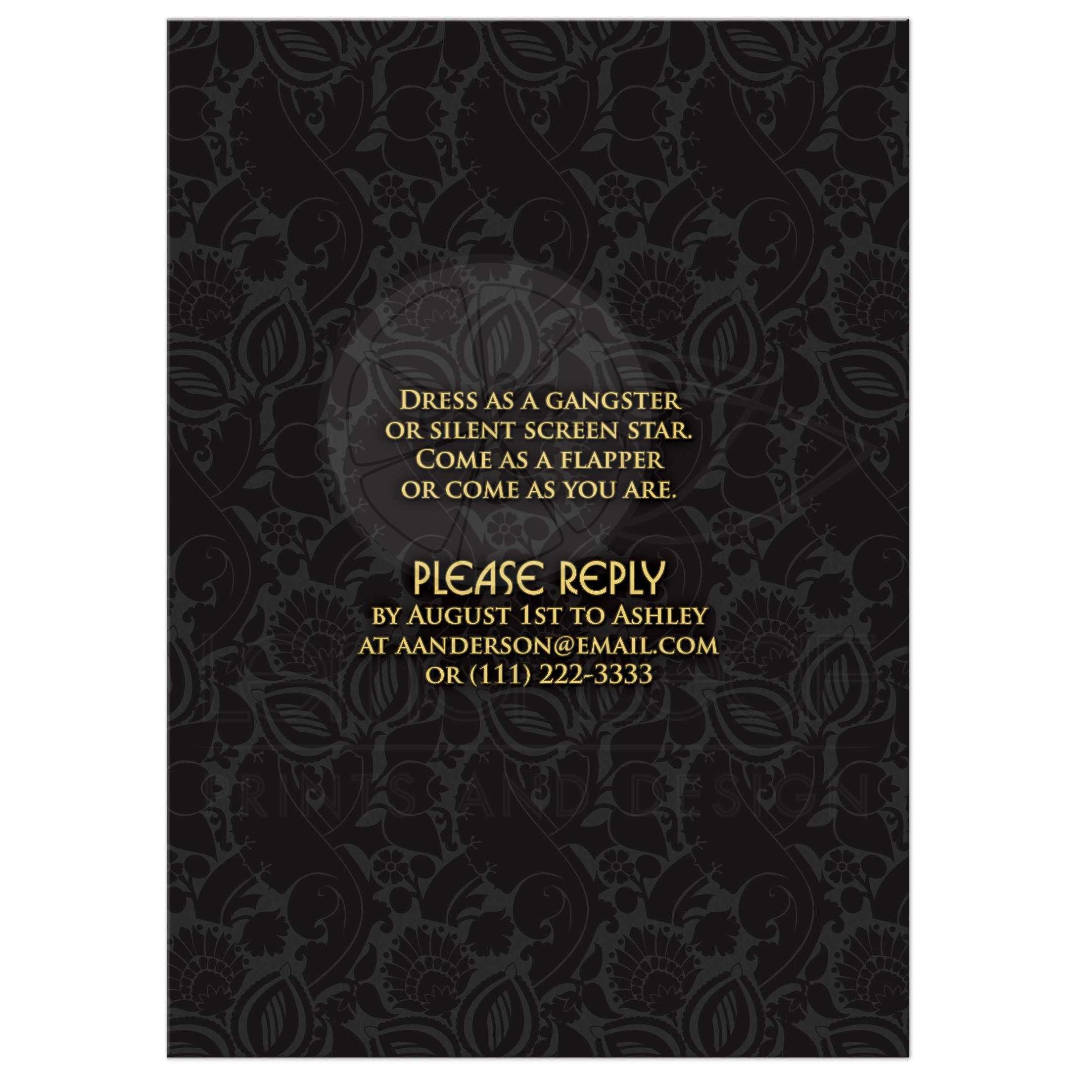 Roaring 20s Engagement Party Invitation Black Gold Art Deco – Gangster Party Invitations