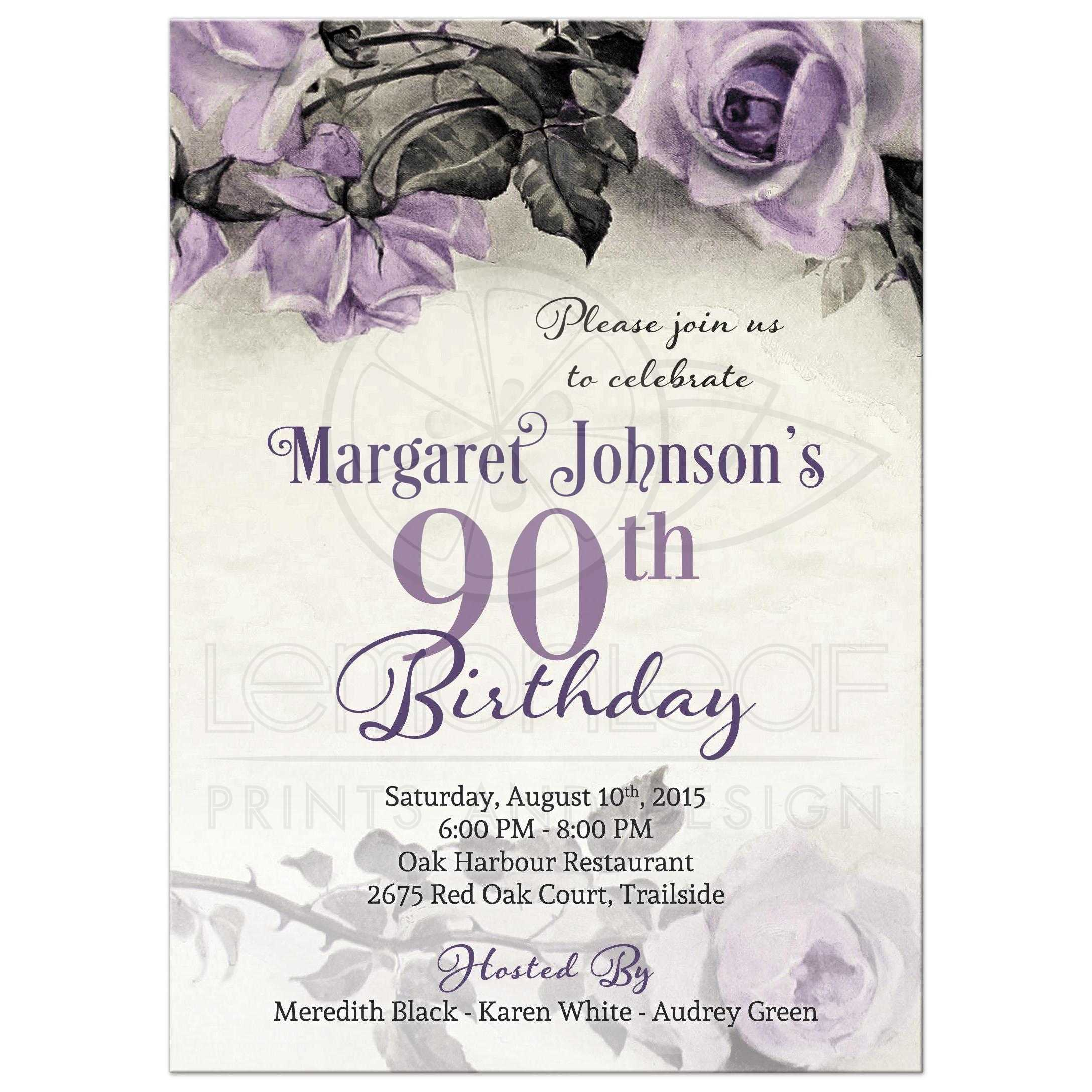 Vintage Purple Grey And Ivory Rose 90th Birthday Party Invitation Front