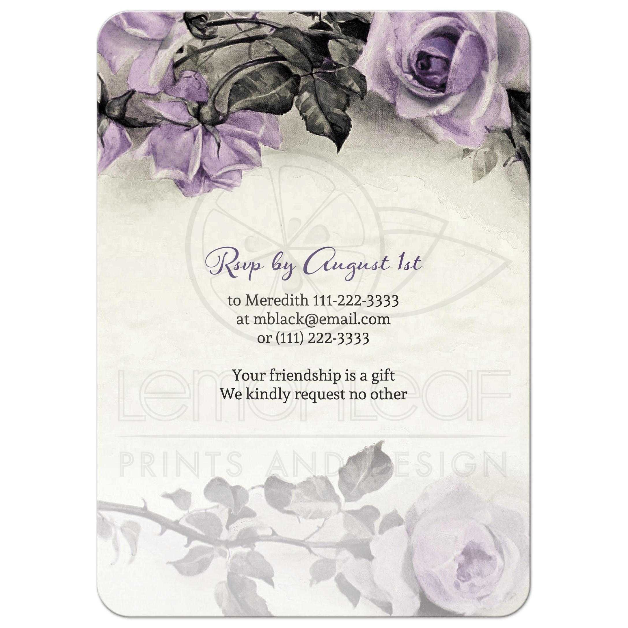 Grey And Ivory Rose 80th Birthday Party Invitation Back
