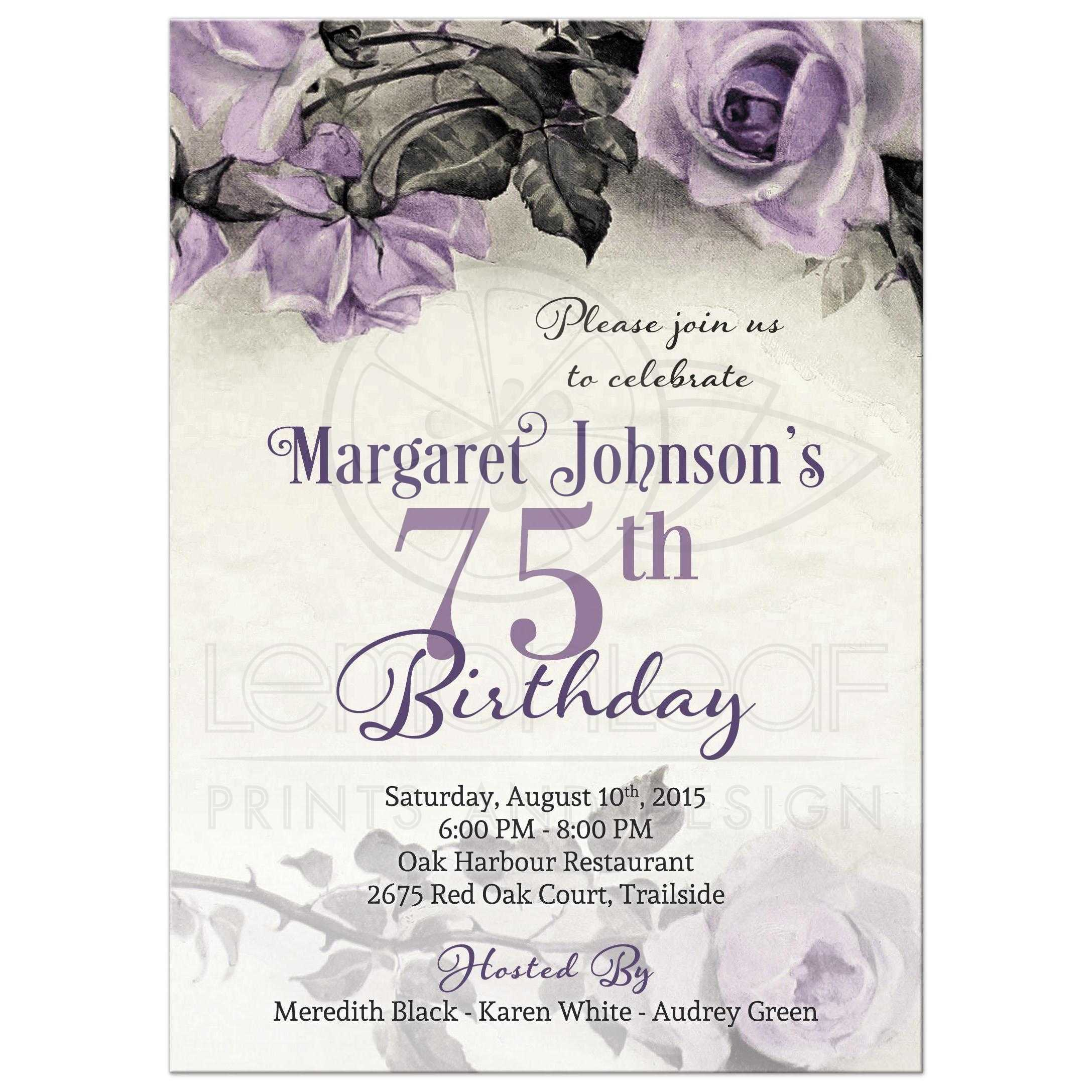 75th Birthday Invitation Vintage Purple Sterling Silver Rose