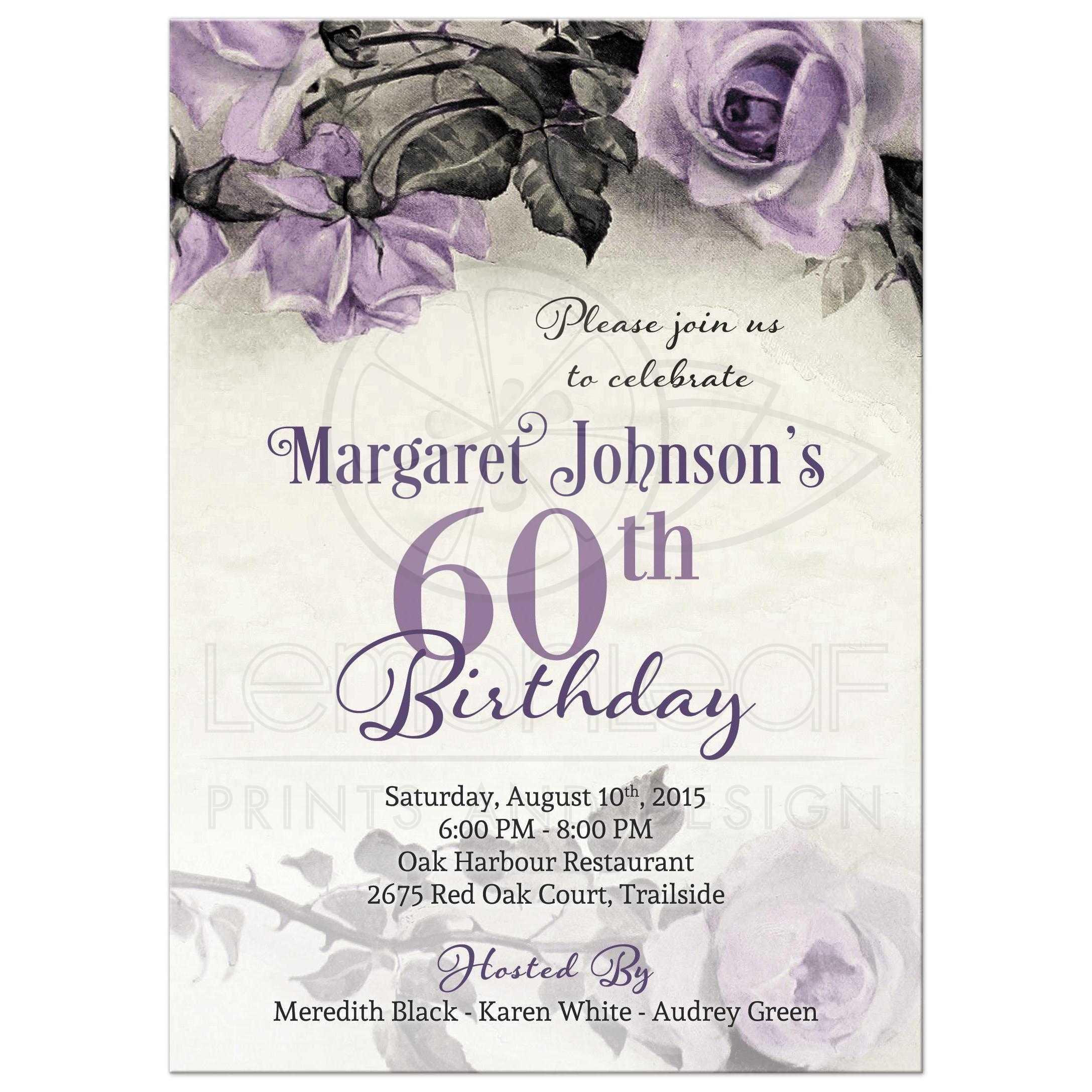 60th Birthday Invitation Vintage Purple Sterling Silver Rose