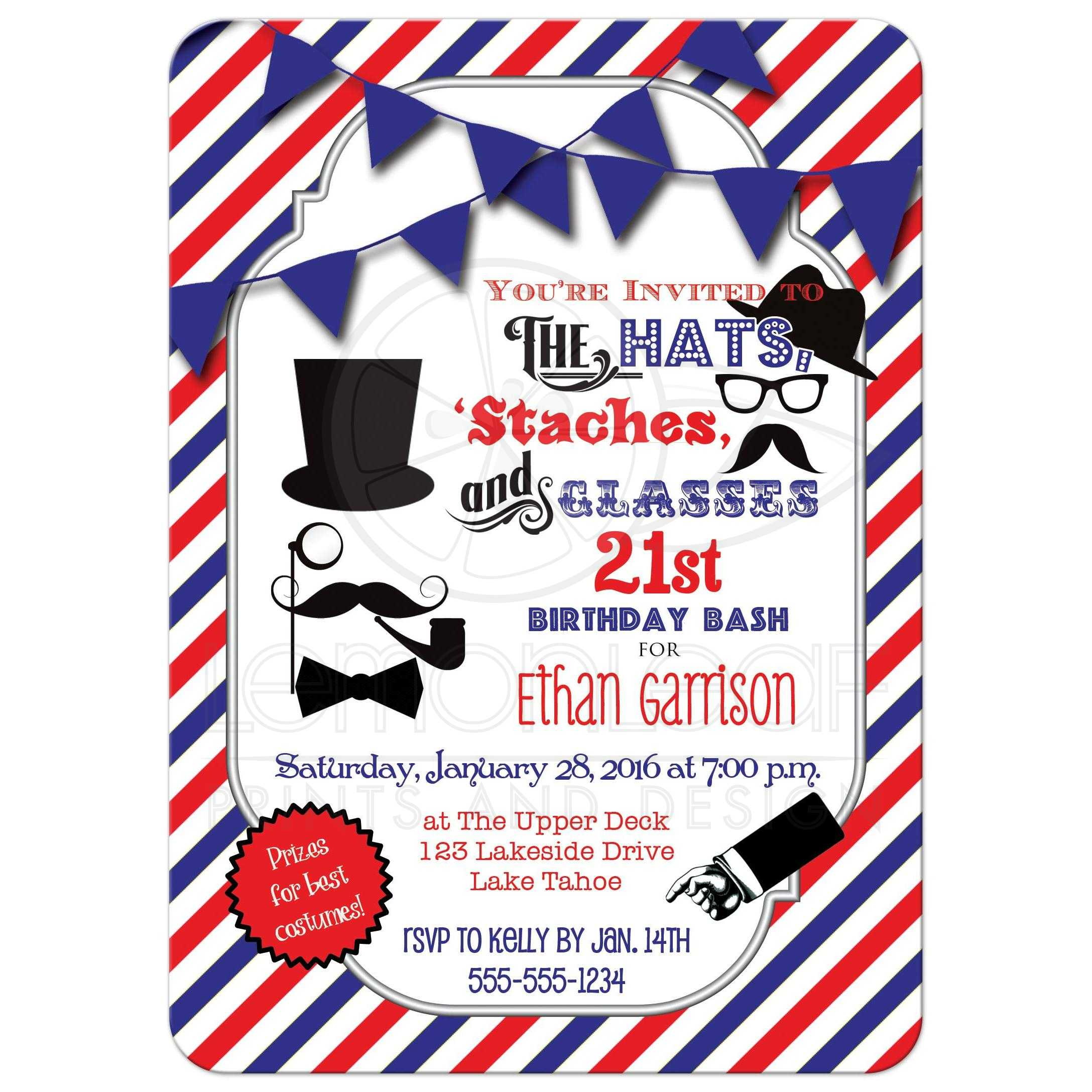 21st Birthday Party Invitation | Hats, Mustaches, Glasses | Hipster ...