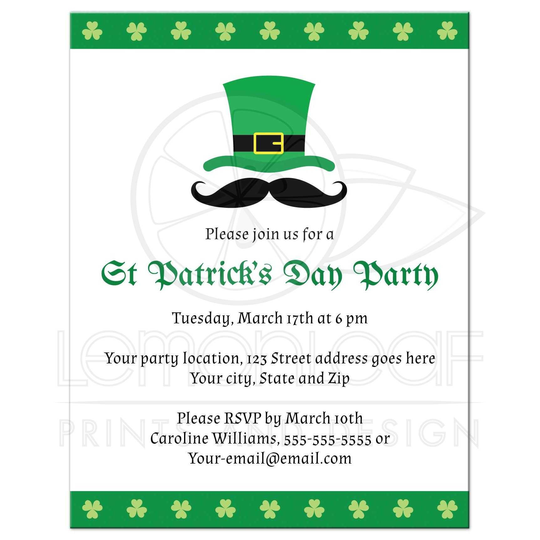 st patricks day party invite with shamrock clover borders hat and funny mustache