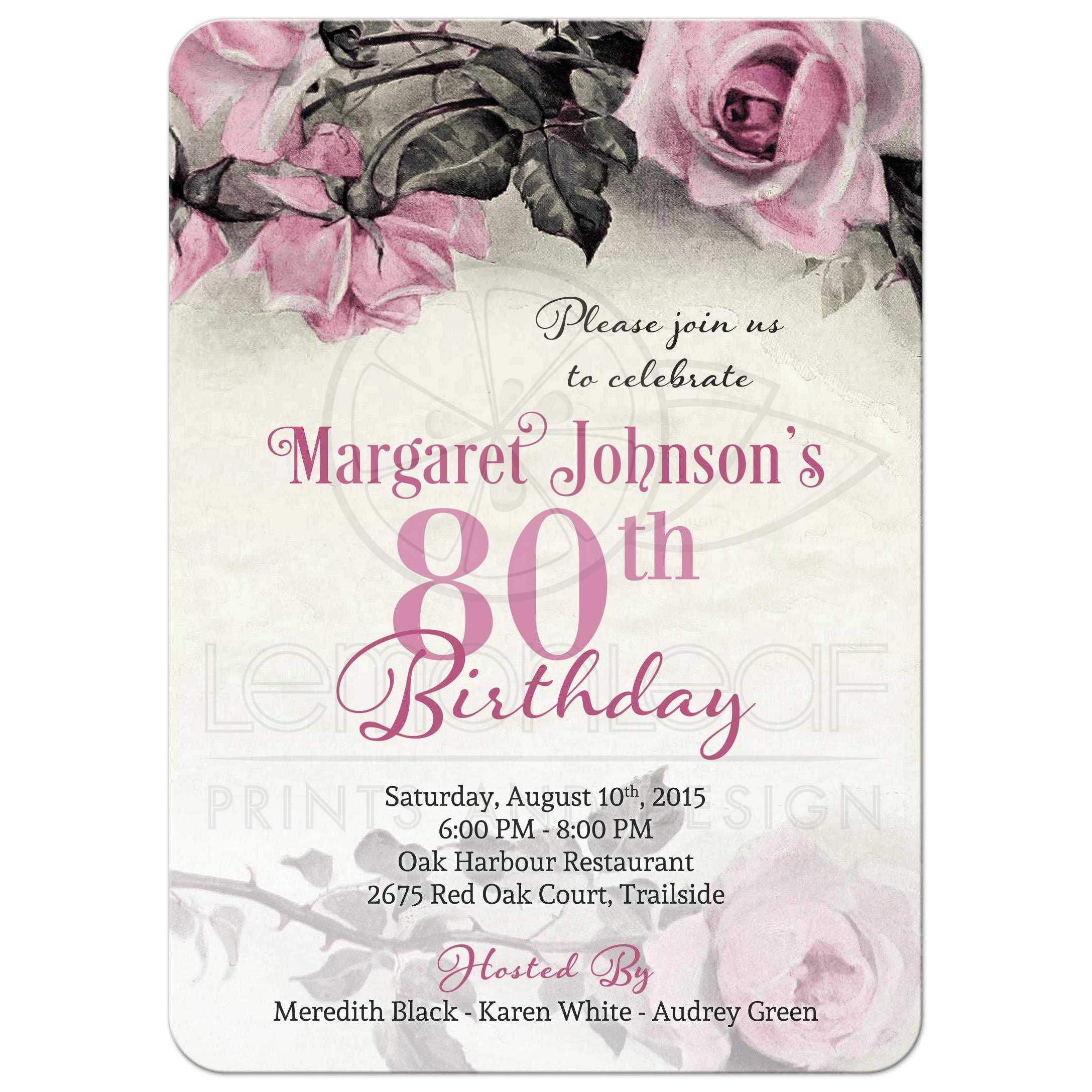 80th birthday invitation | vintage pink grey rose, Birthday invitations