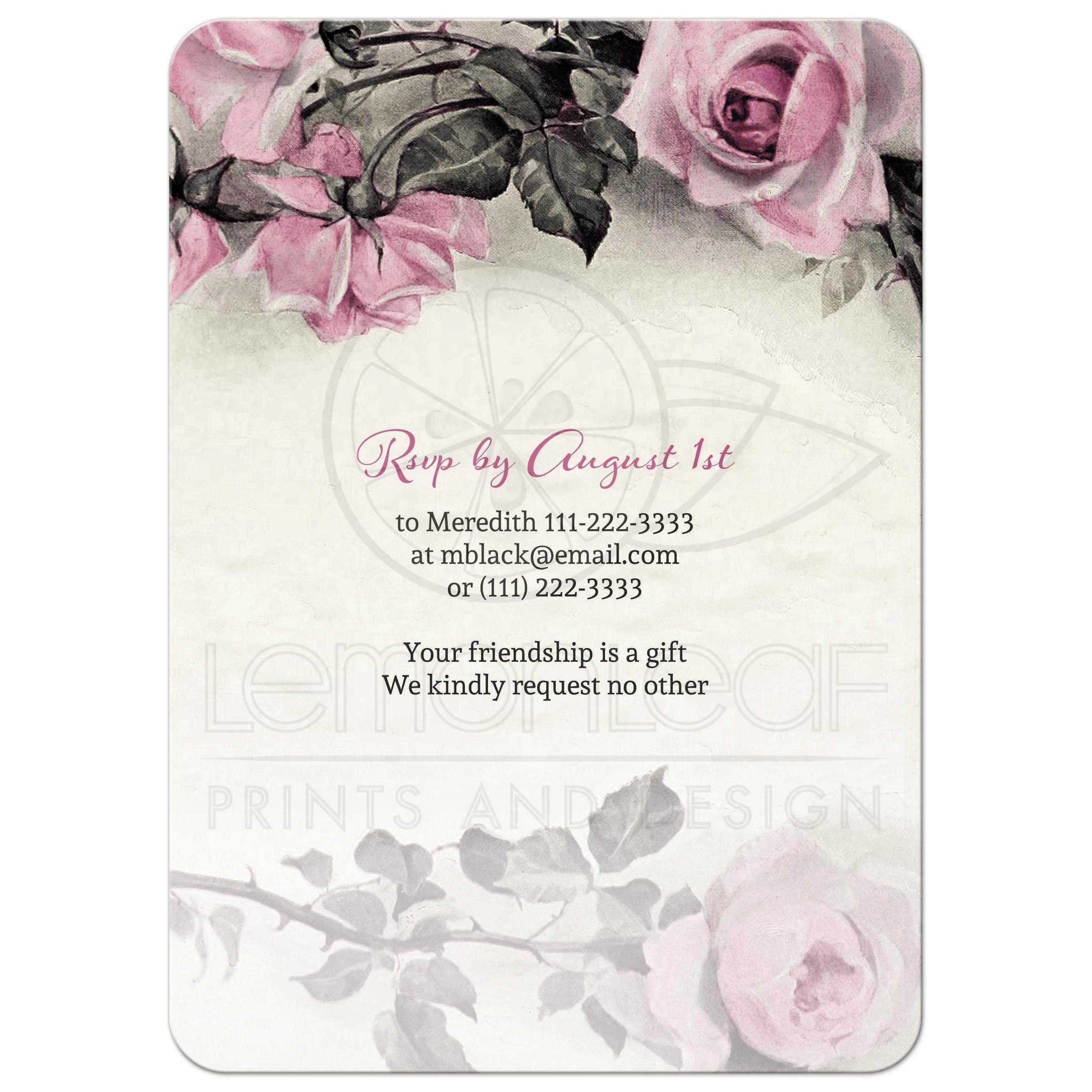grey gray and ivory rose 80th birthday party invitation back