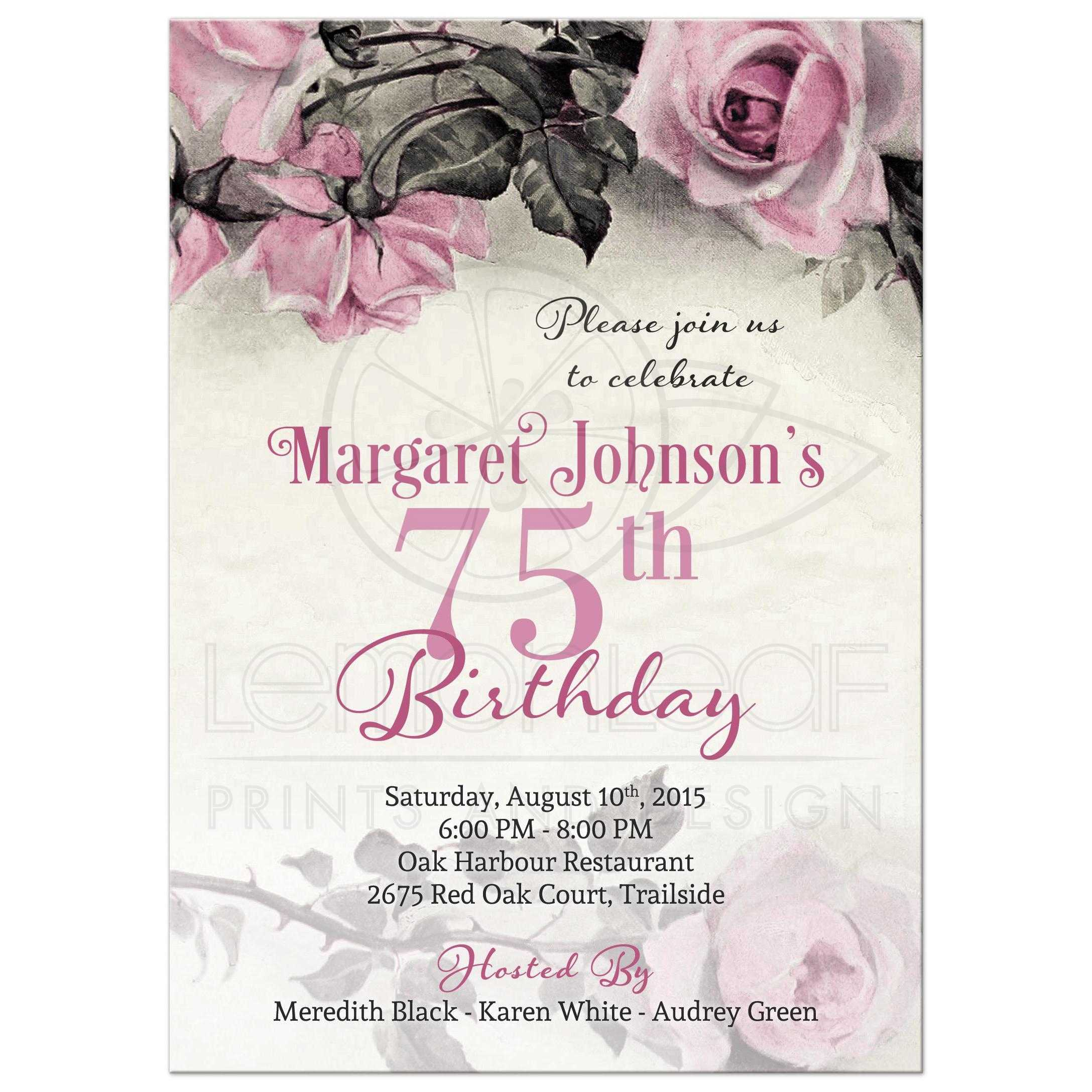 Vintage Pink Grey Gray And Ivory Rose Illustration 75th Birthday Party Invitation