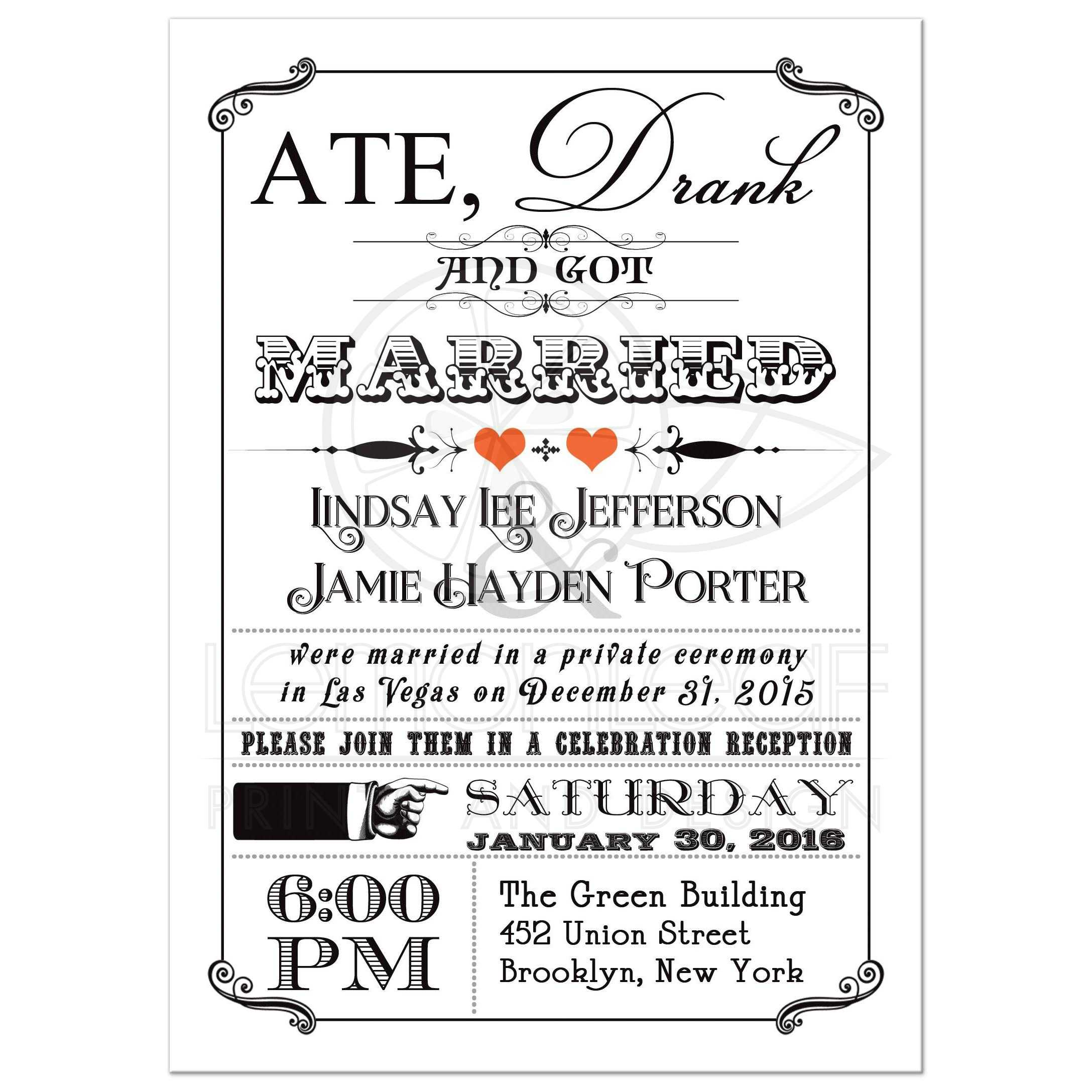 Black And White Vintage Poster Post Wedding Reception Invitation With  Orange Hearts ...