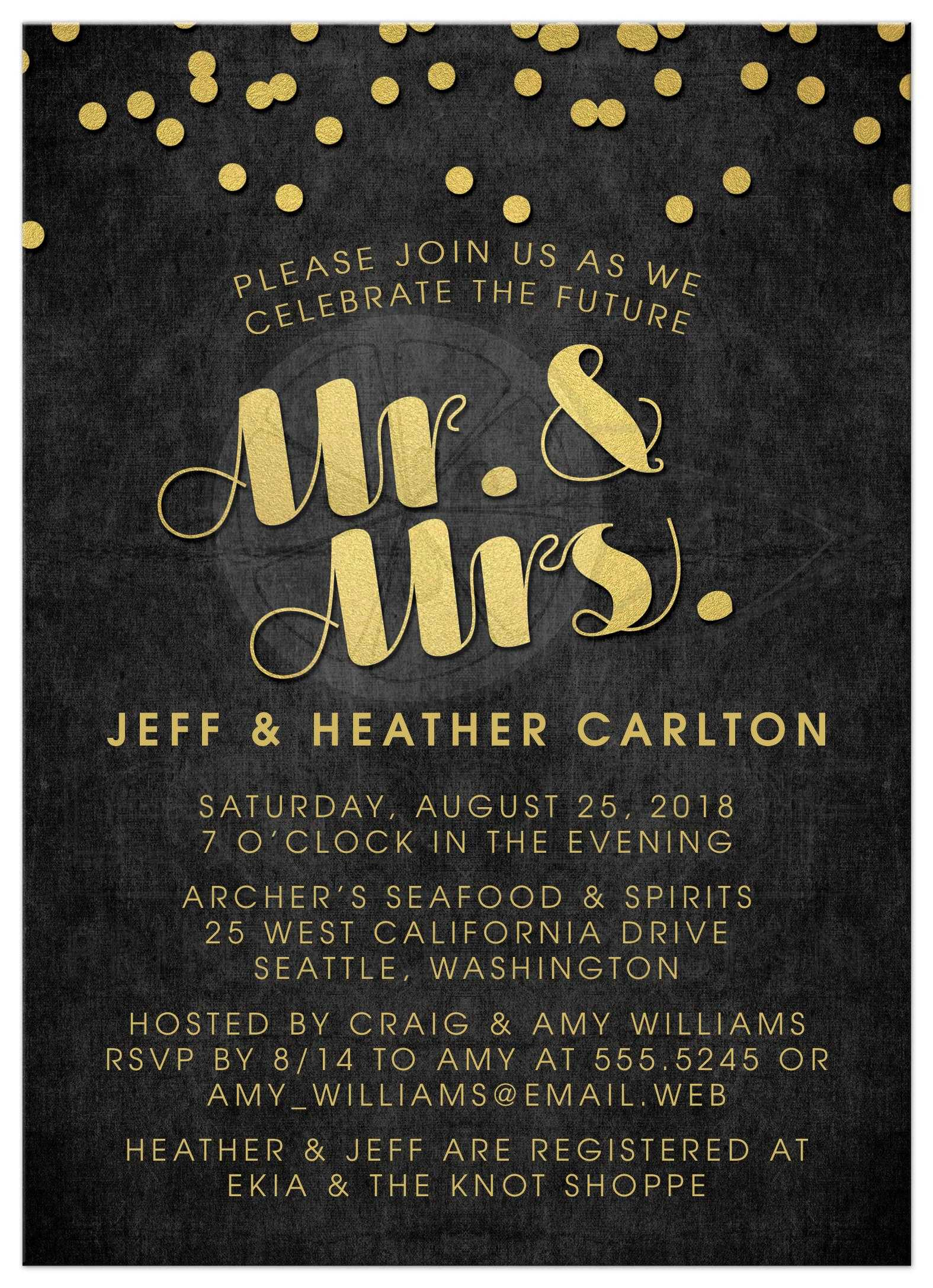 Engagement Party Invitations - Gold Confetti Mr & Mrs